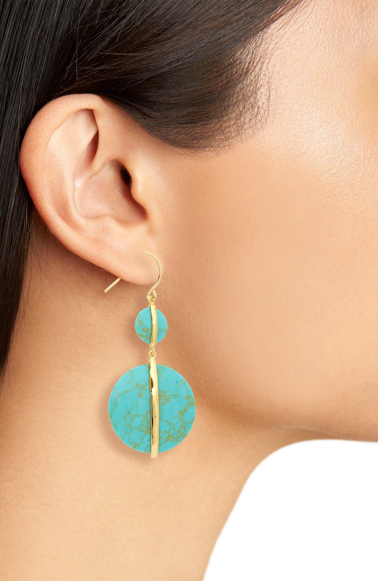 Brinn Drop Earrings,                             Alternate thumbnail 2, color,                             Green Turquoise