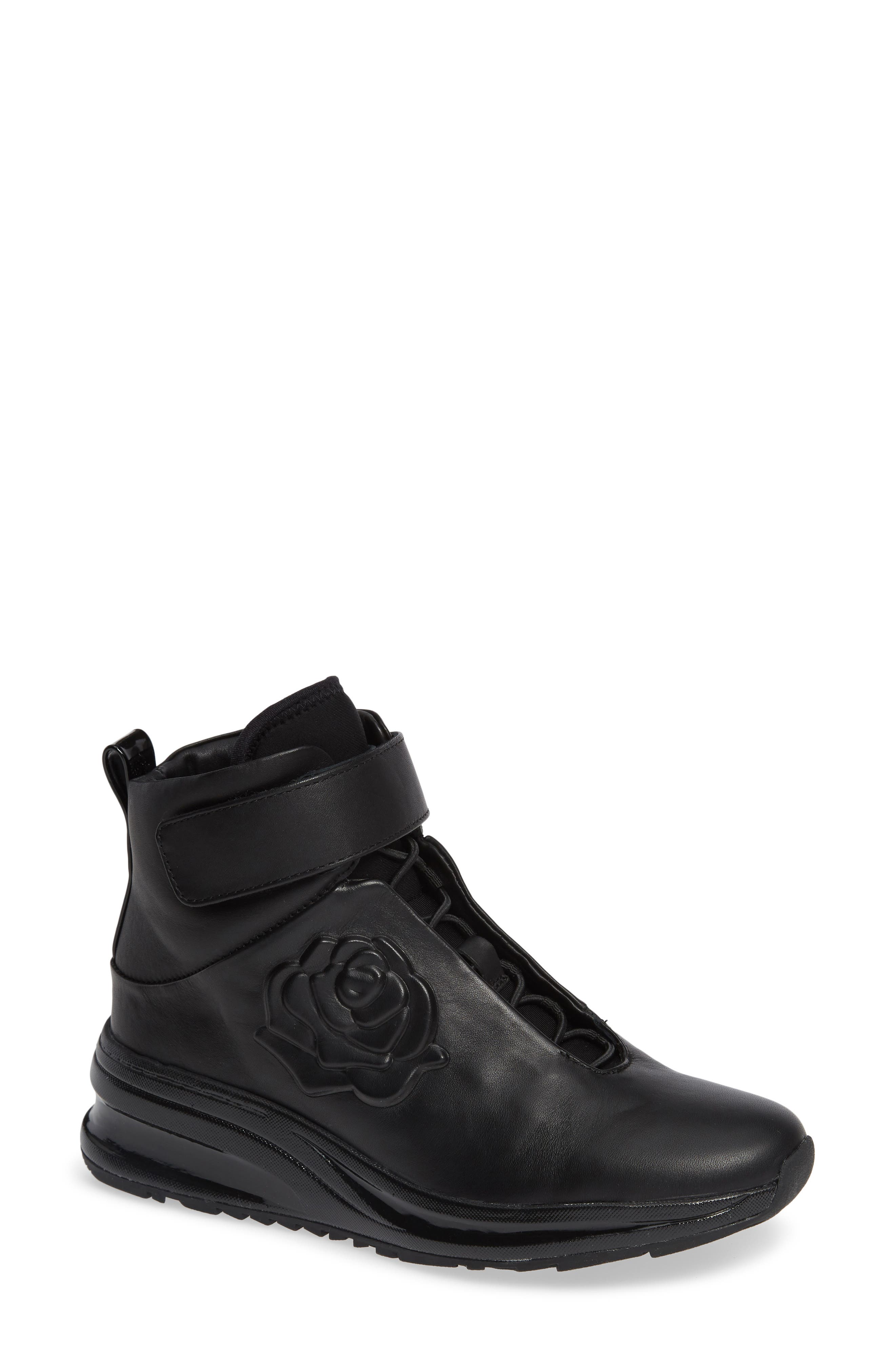 ZANNA ROSE-EMBOSSED HIGH-TOP SNEAKERS