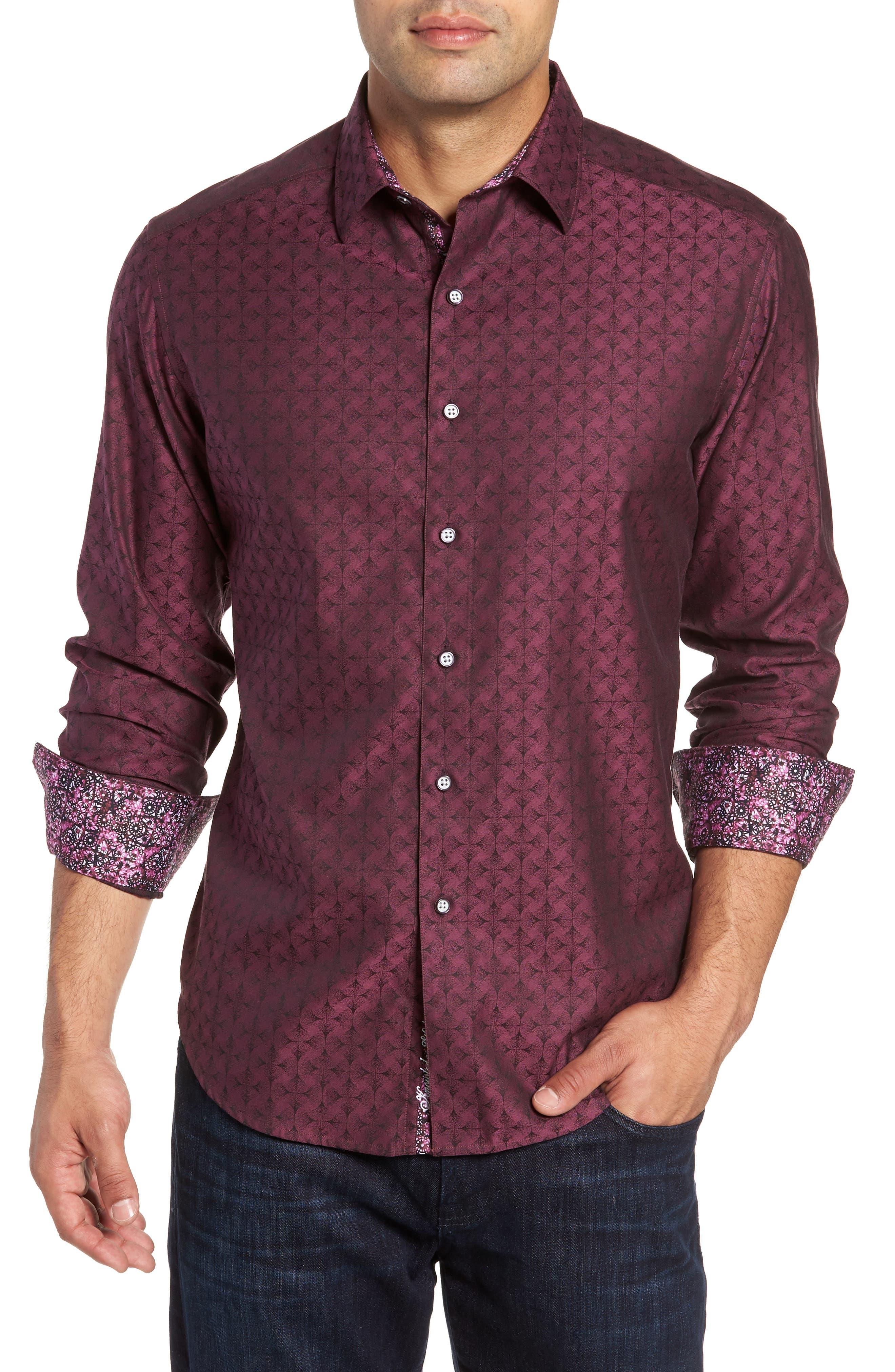 Diamante Classic Fit Print Sport Shirt,                         Main,                         color, Berry