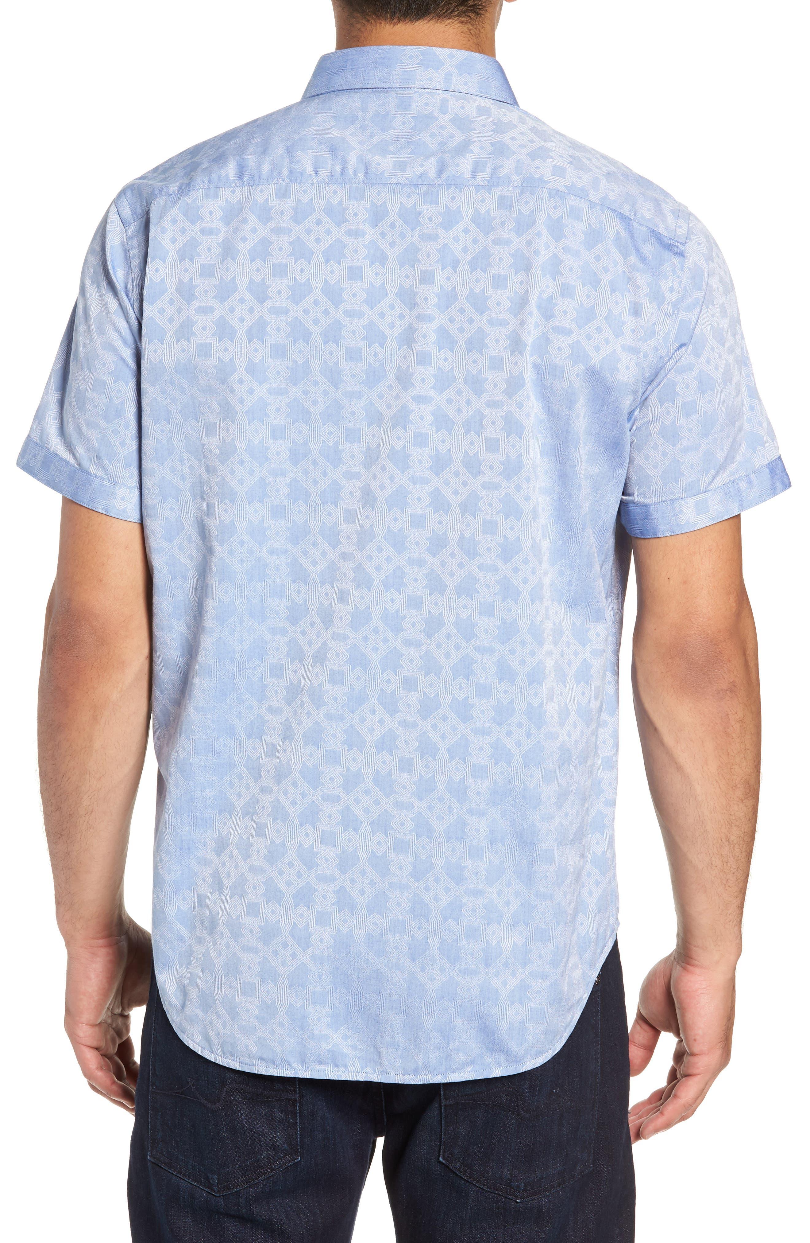 Maya Bay Classic Fit Jacquard Sport Shirt,                             Alternate thumbnail 3, color,                             Blue