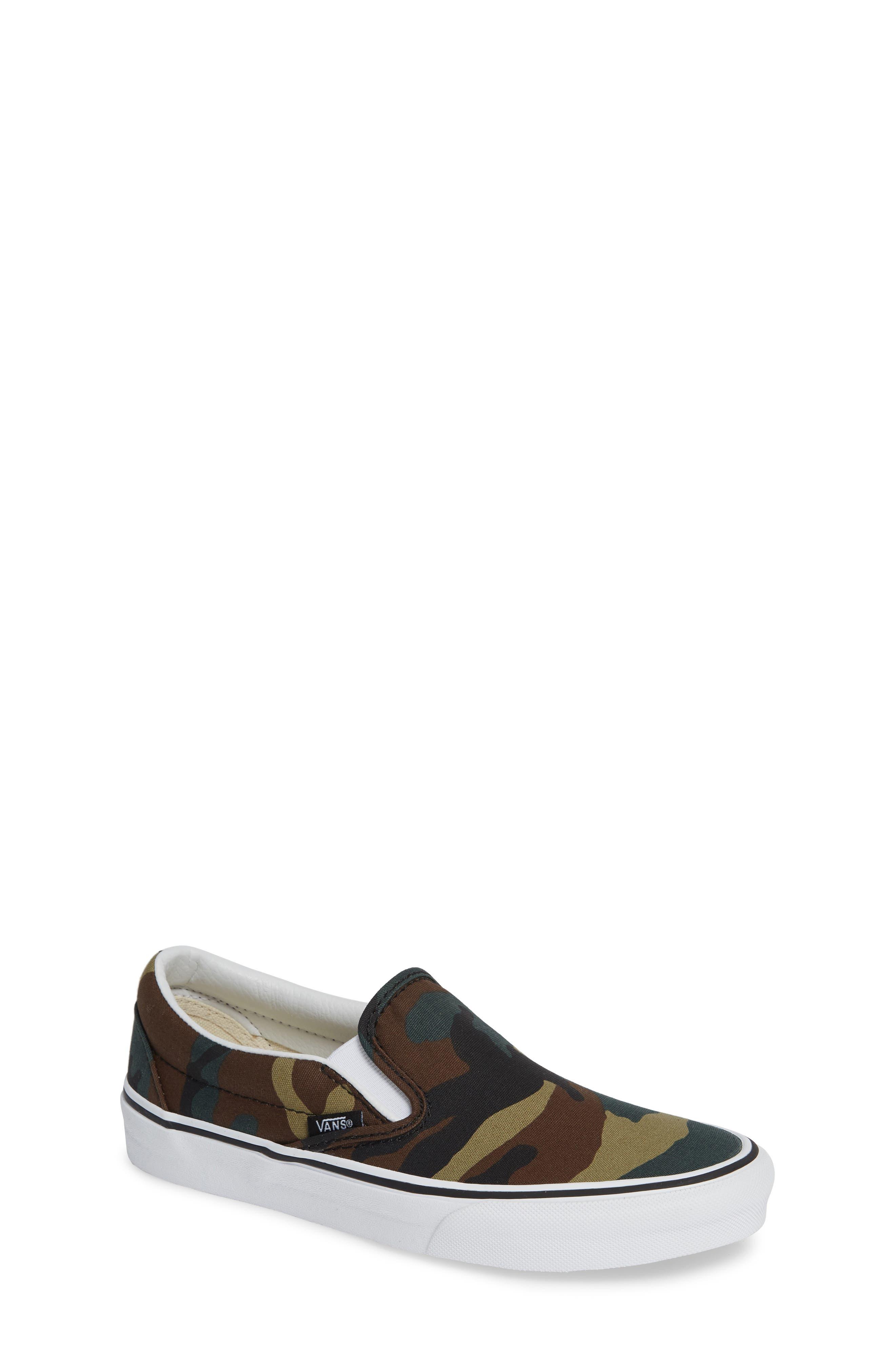 Classic Slip-On Sneaker,                             Main thumbnail 1, color,                             Black / Woodland
