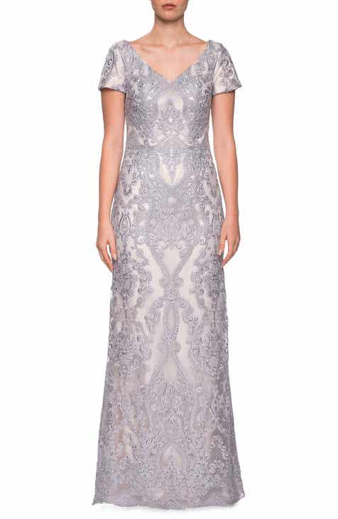 fab84eece435 La Femme Embroidered Lace Column Dress