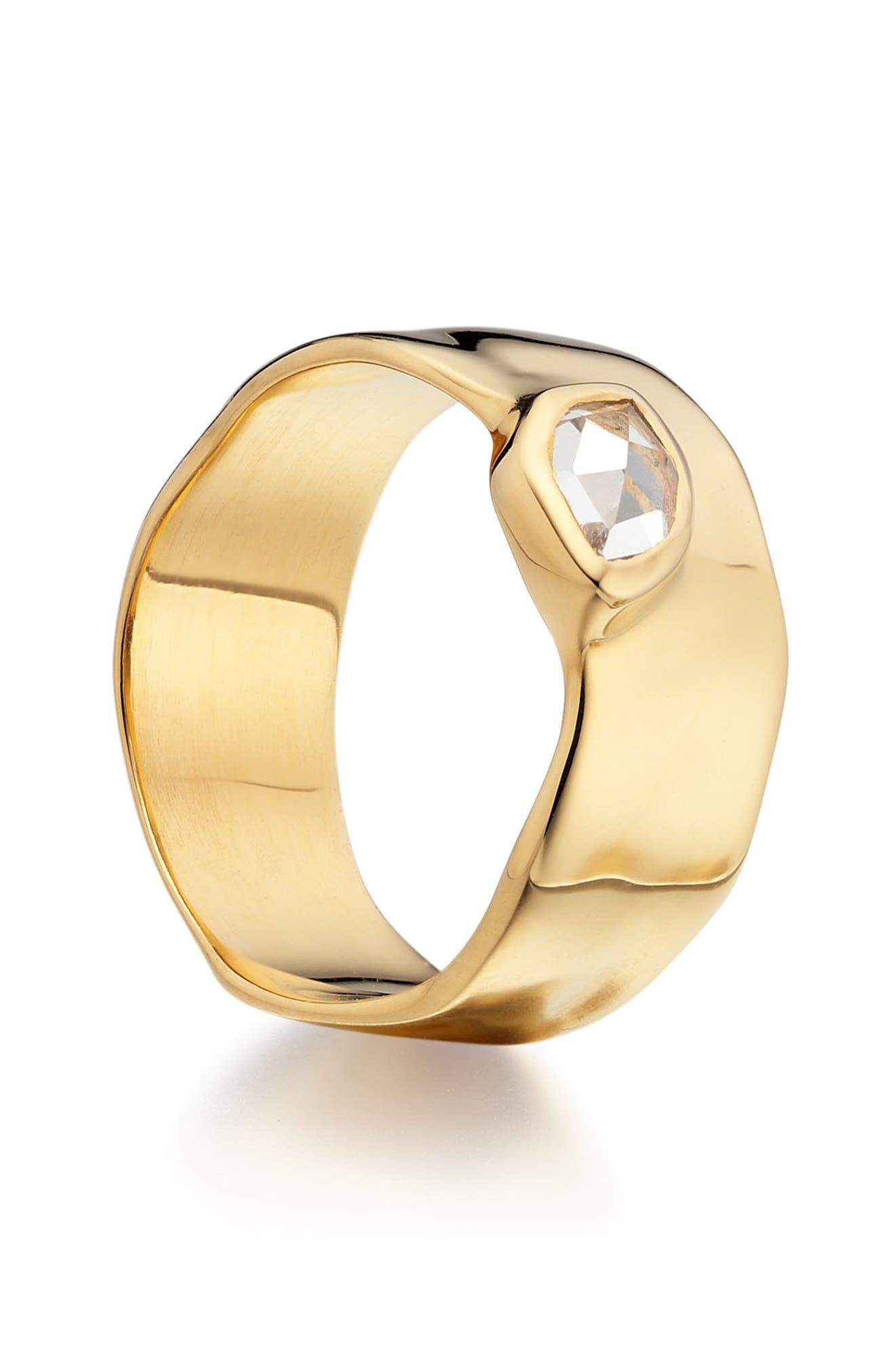 'Siren' Wide Band Ring,                             Alternate thumbnail 3, color,                             White Topaz/ Yellow Gold