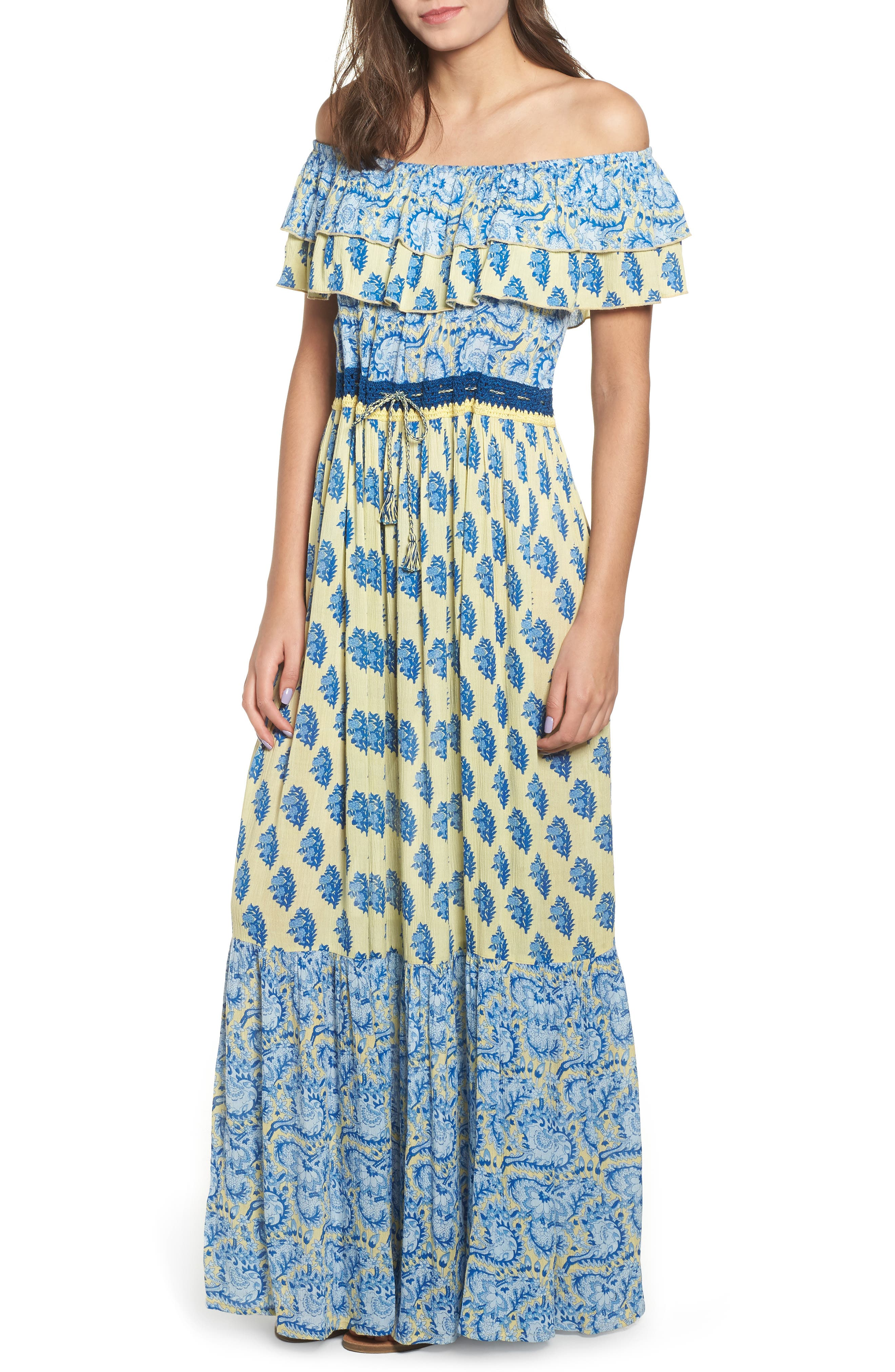 Sunlit Daze Off The Shoulder Maxi Dress, Yellow