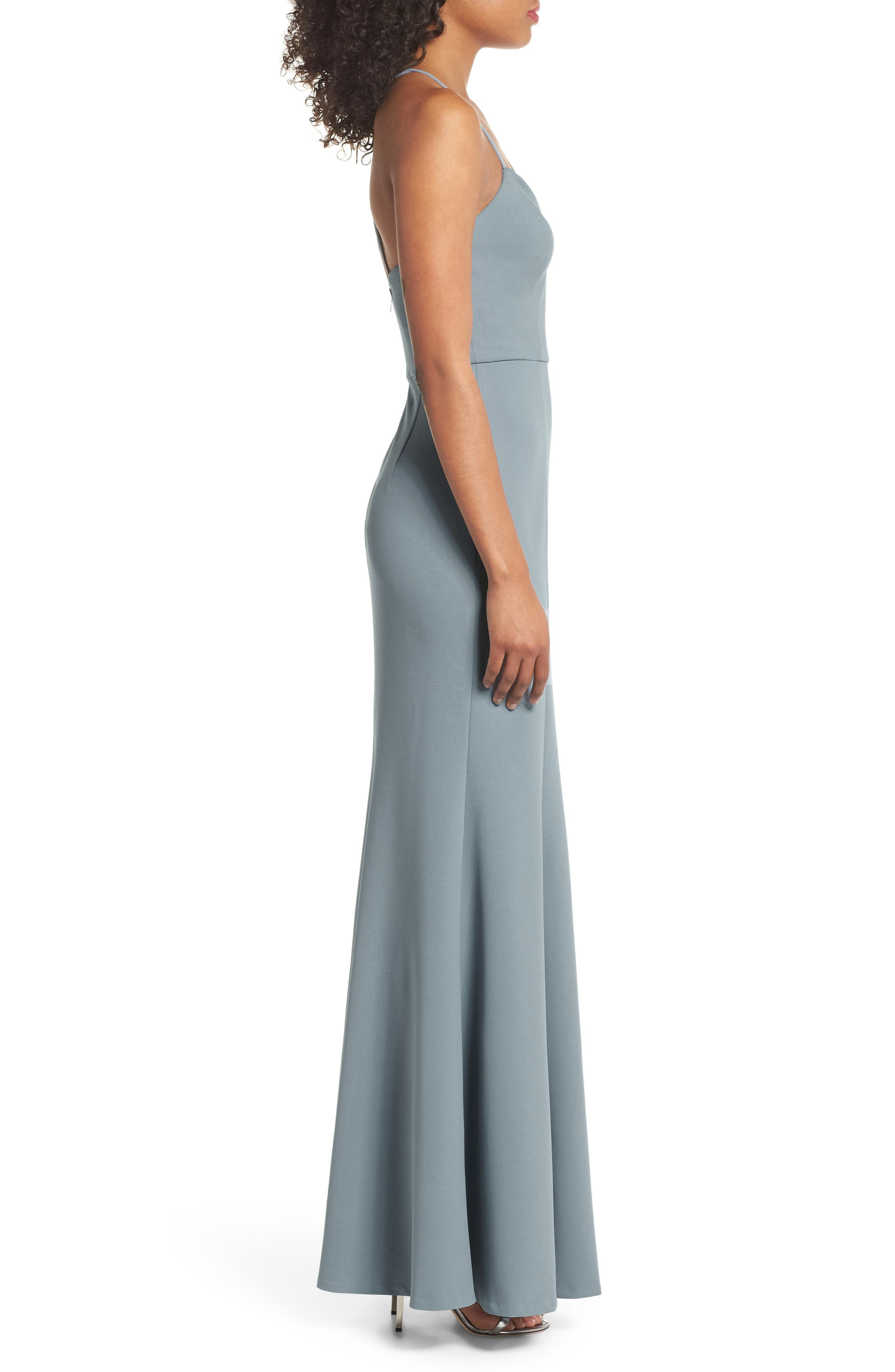 Reese Crepe Knit Gown,                             Alternate thumbnail 3, color,                             Mayan Blue