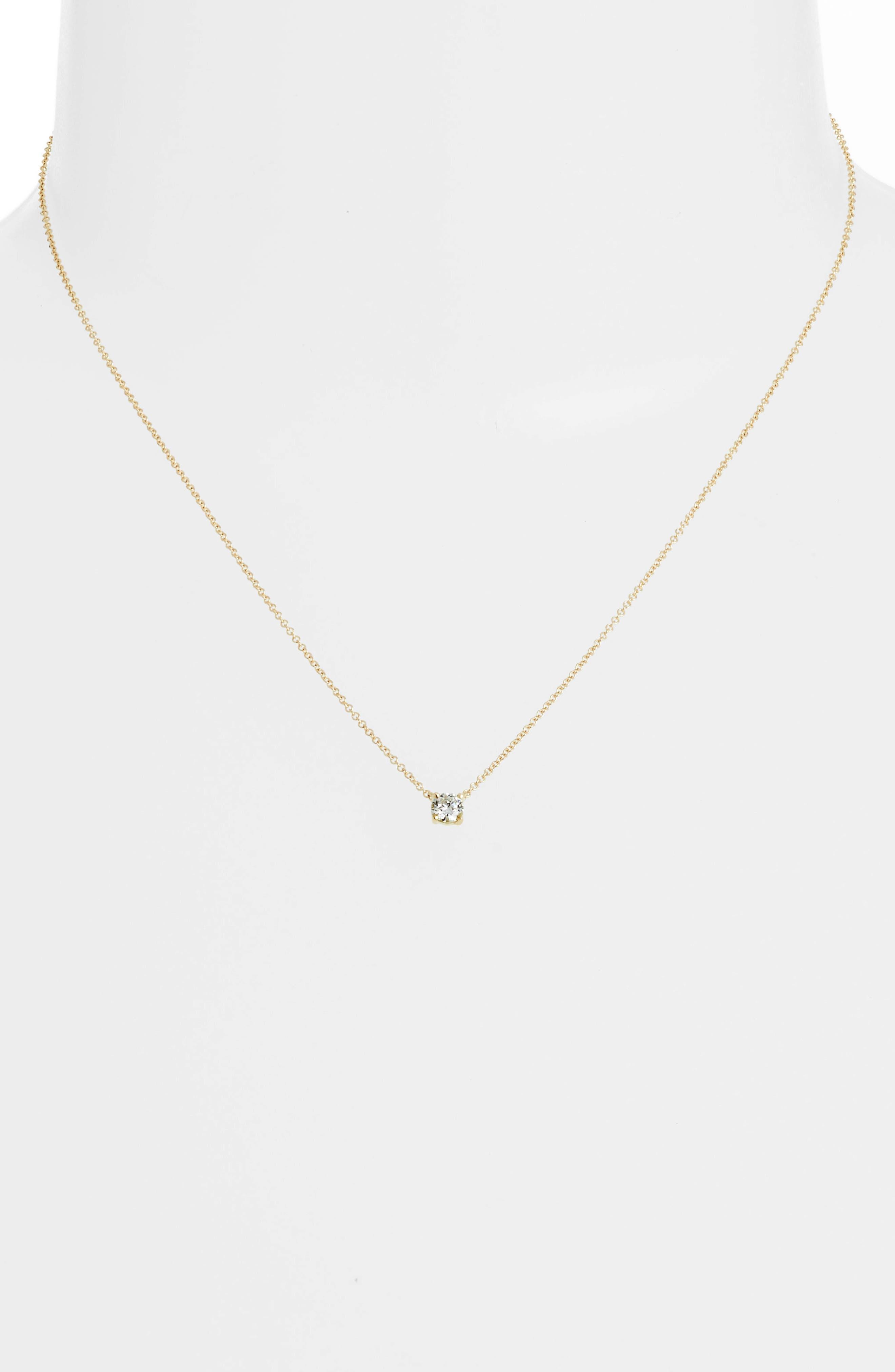 Liora Solitaire Diamond Pendant Necklace,                             Alternate thumbnail 2, color,                             Yellow Gold