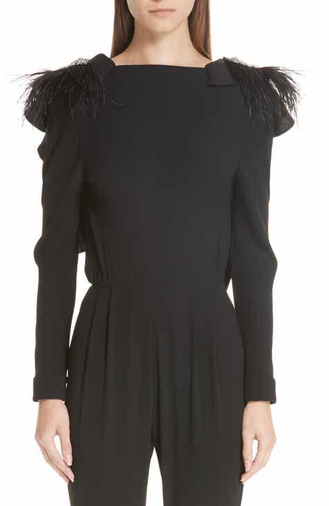 Johanna Ortiz Embellished Shoulder Wool Crepe Jumpsuit