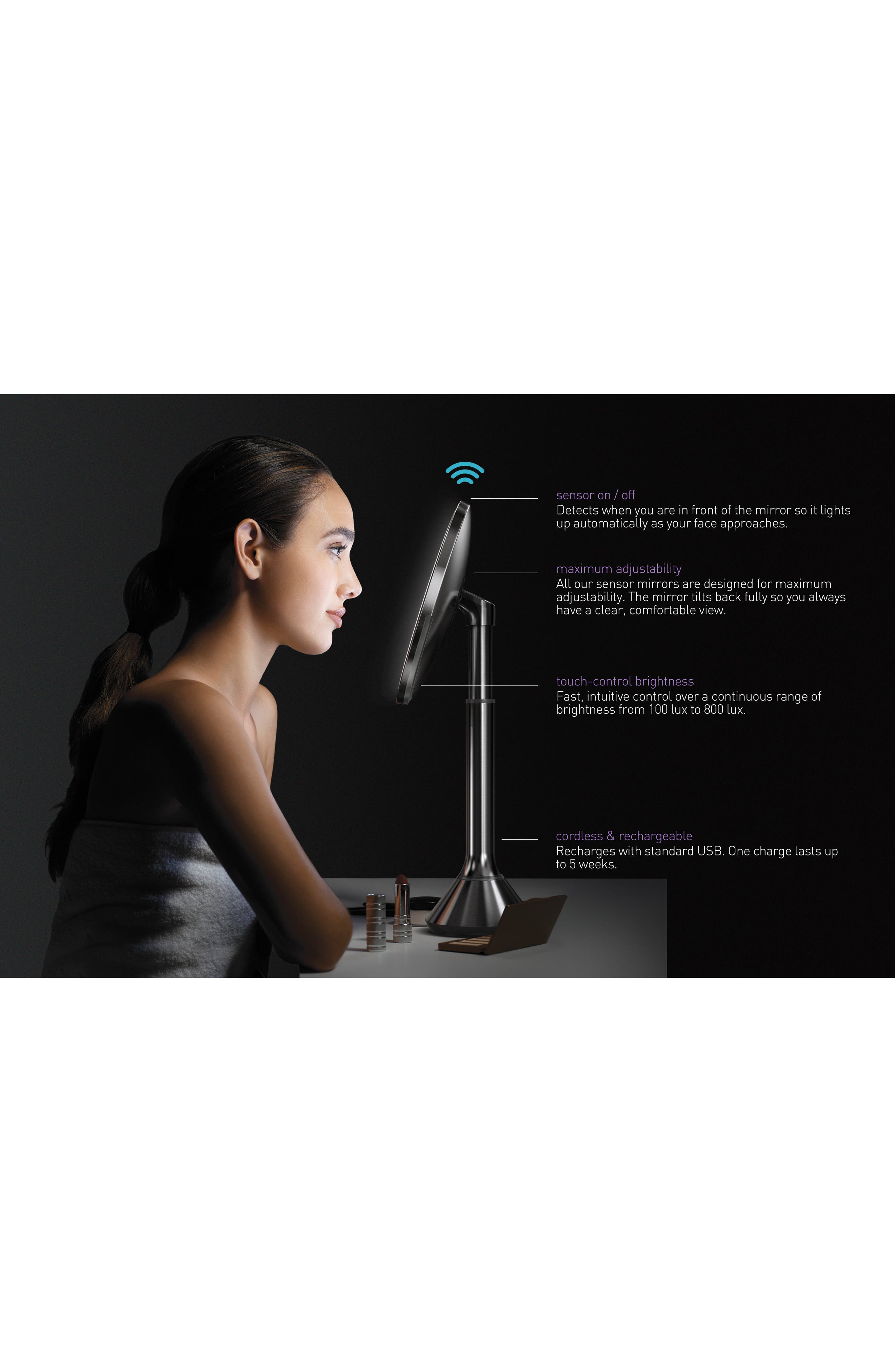 Eight Inch Sensor Mirror with Brightness Control,                             Alternate thumbnail 6, color,