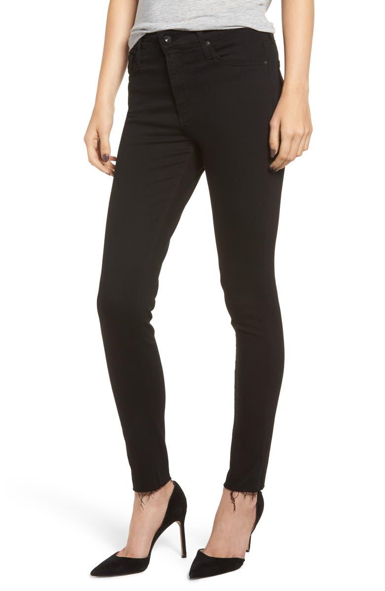 The Farrah High Waist Raw Hem Ankle Skinny Jeans