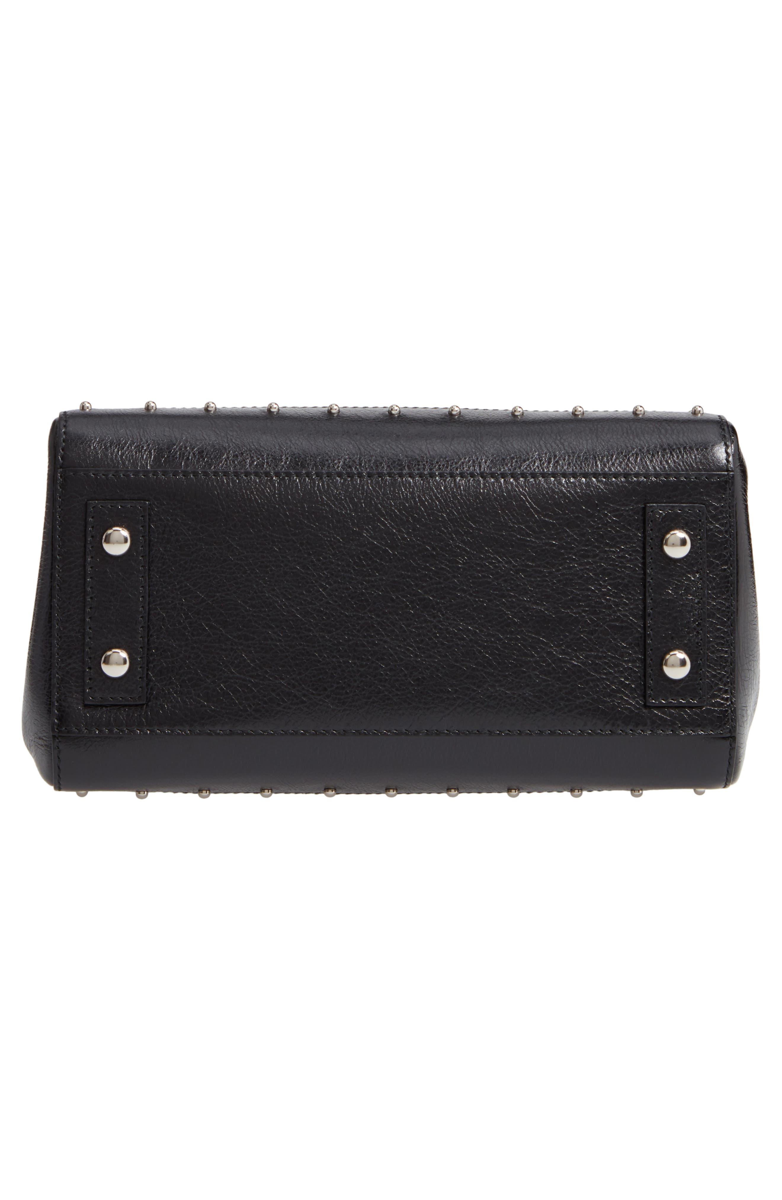 Mini Logo Calfskin Leather Top Handle Satchel,                             Alternate thumbnail 3, color,                             Noir