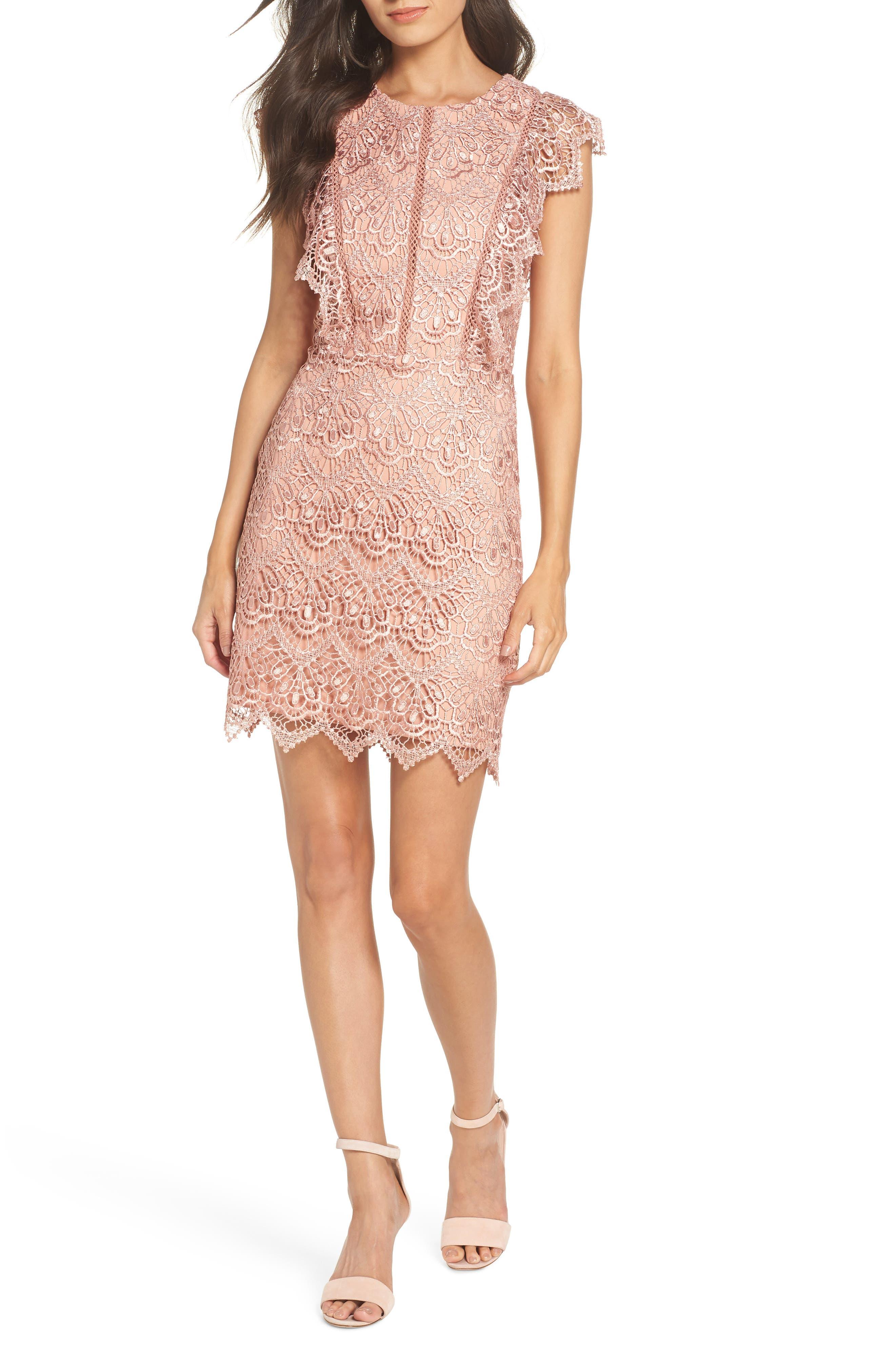 ADELYN RAE Raquel Lace Sheath Dress, Rose Gold
