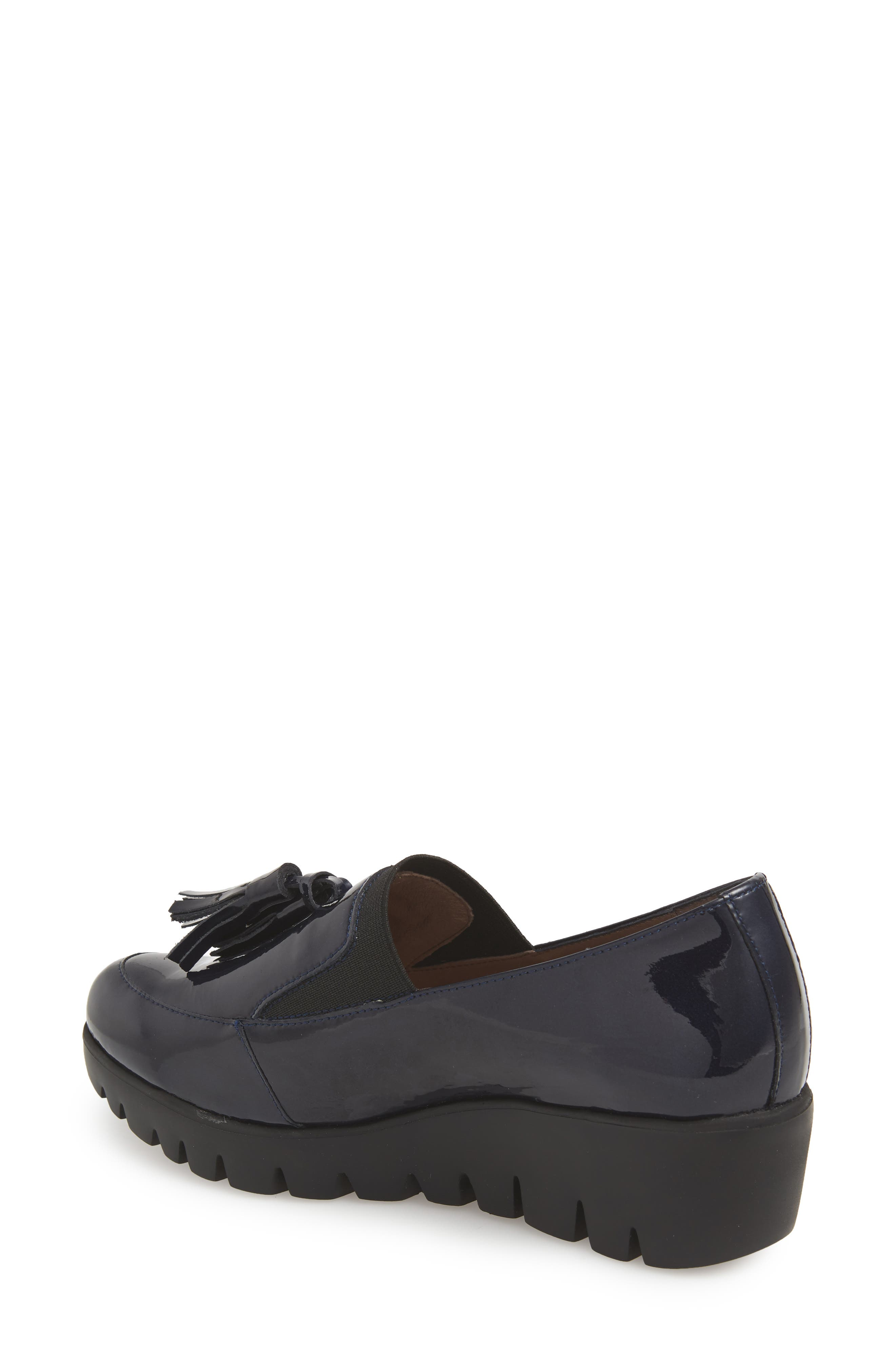 Talla Loafer Wedge,                             Alternate thumbnail 2, color,                             Navy Patent Leather