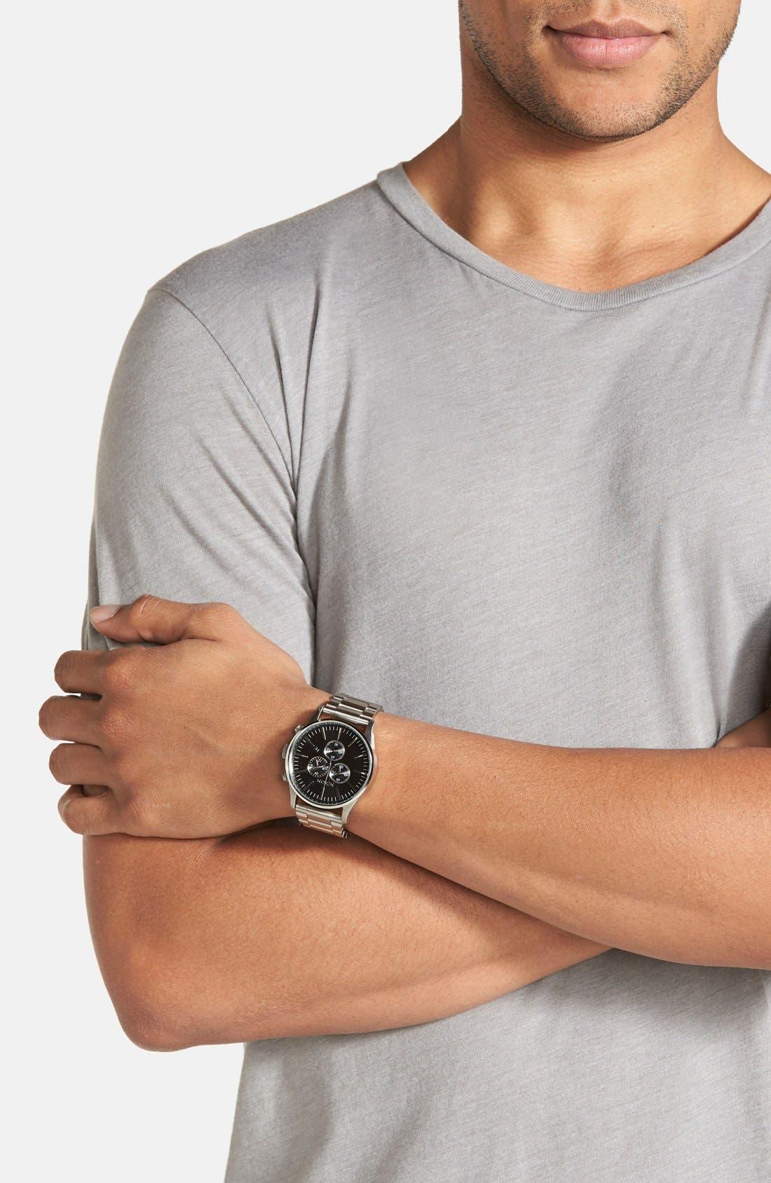 'The Sentry' Chronograph Bracelet Watch, 42mm,                             Alternate thumbnail 4, color,                             Silver/ Black