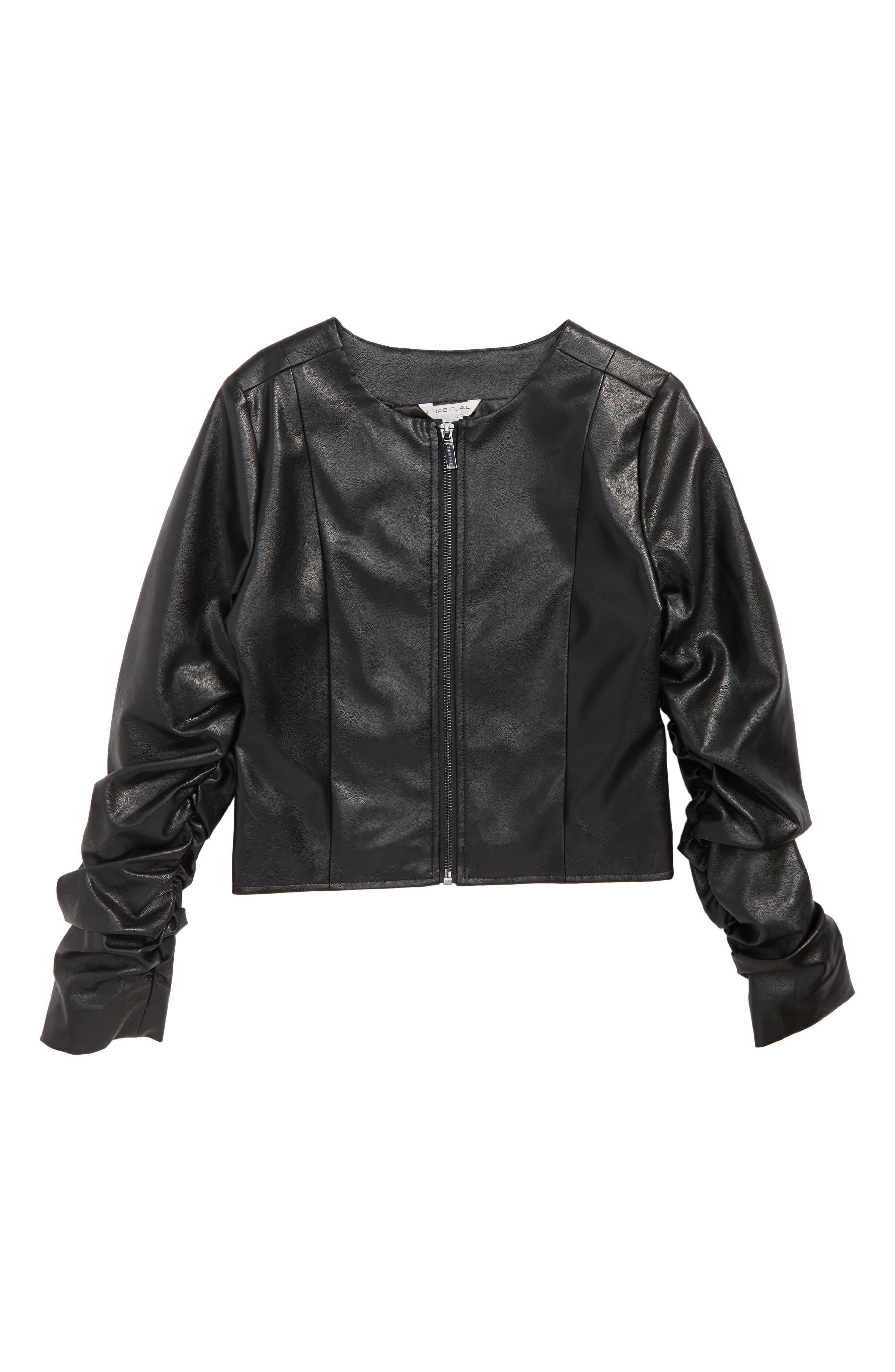 Emma Faux Leather Jacket,                             Main thumbnail 1, color,                             Black