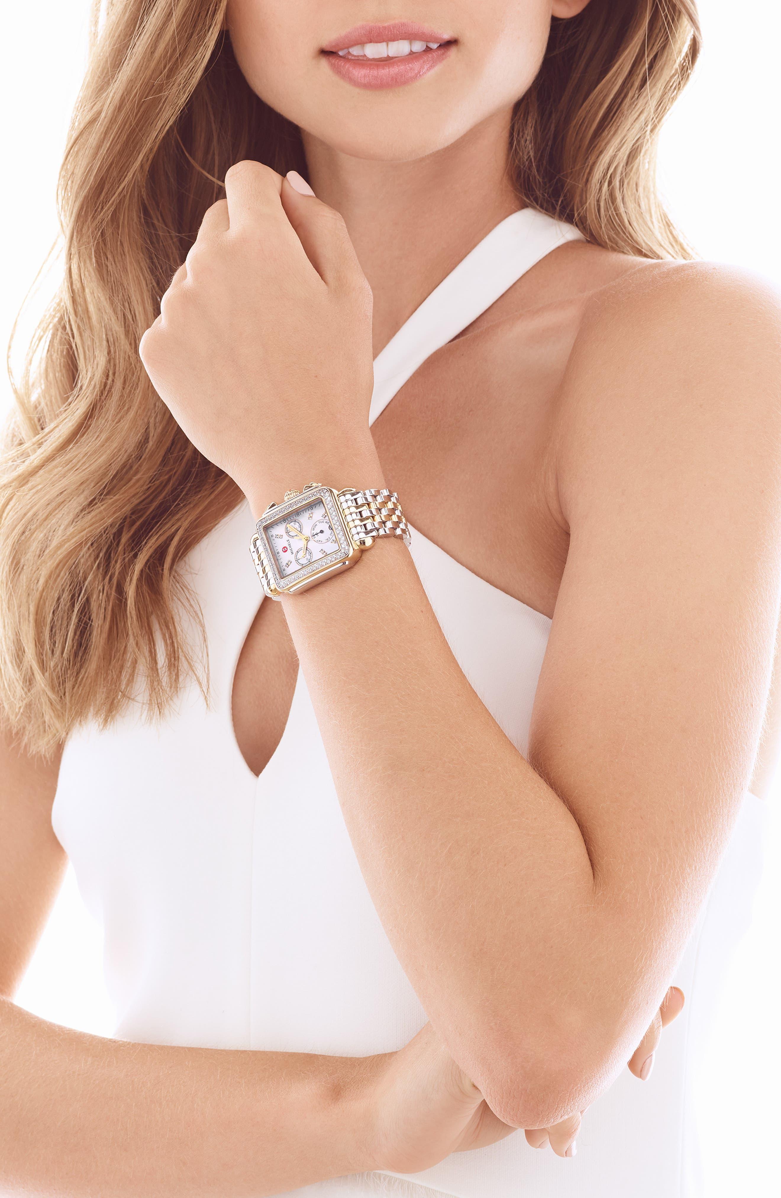 Deco Diamond Diamond Dial Two-Tone Watch Case, 33mm x 35mm,                             Alternate thumbnail 2, color,                             Silver/ Gold