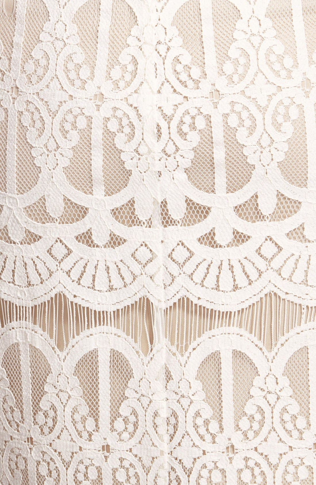 Lace Body-Con Dress,                             Alternate thumbnail 3, color,                             Ivory