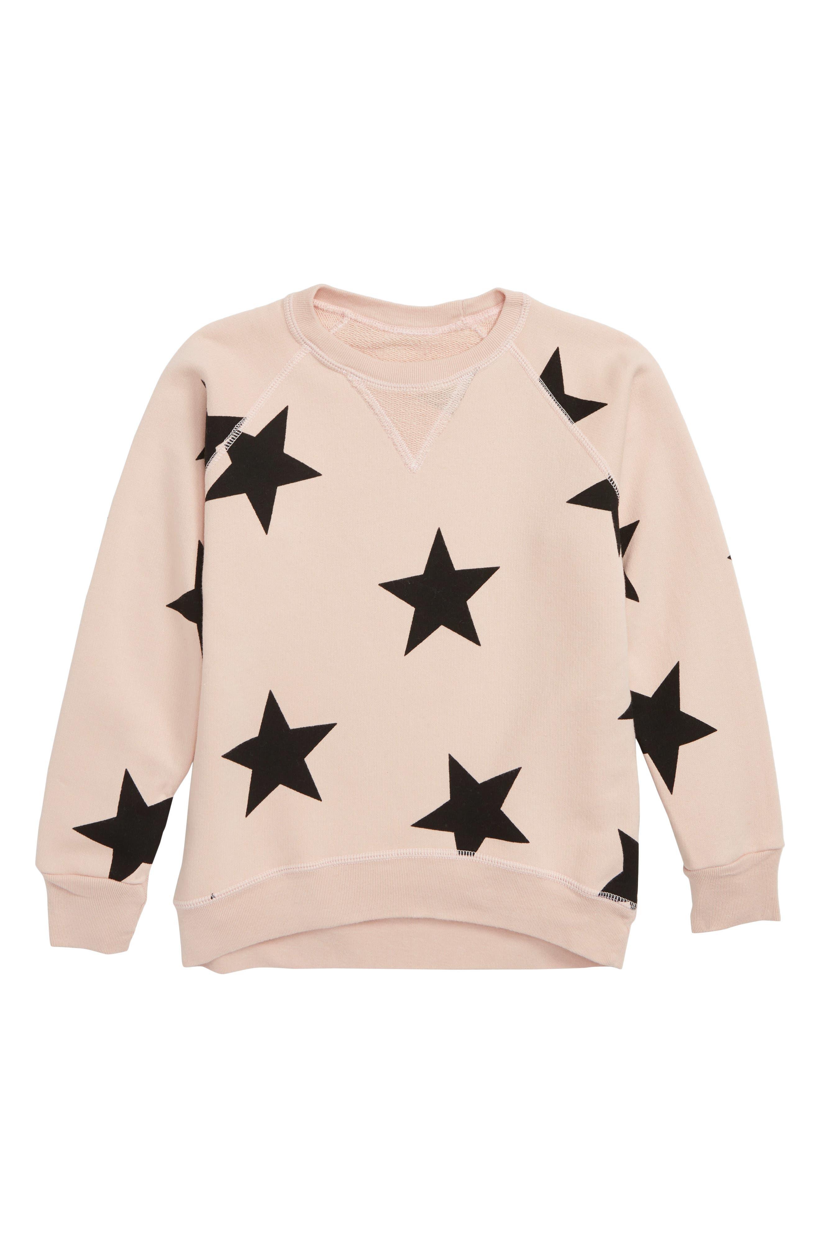 Star Print Sweatshirt,                             Main thumbnail 1, color,                             Powder Pink