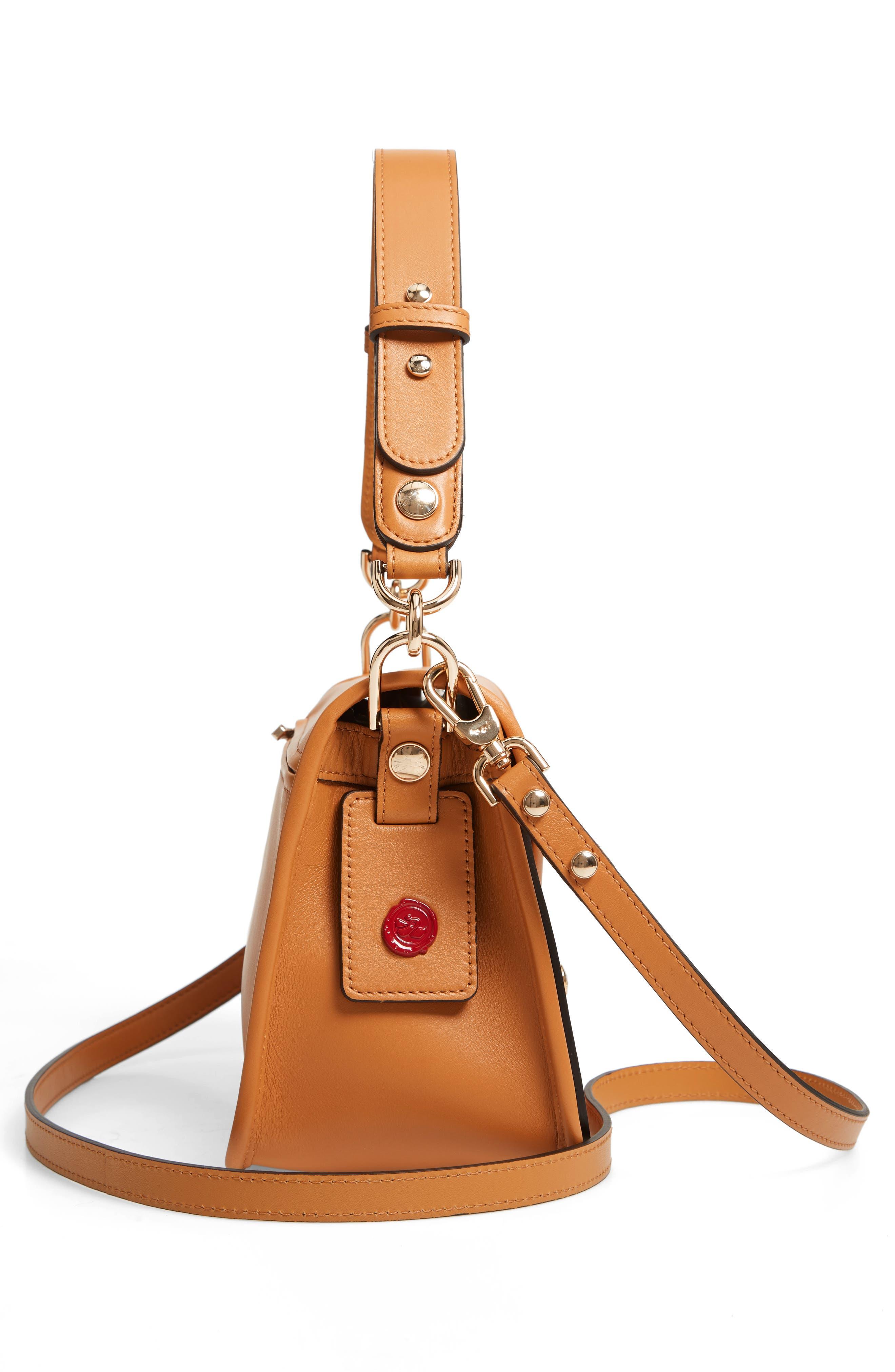 Mademoiselle Calfskin Leather Crossbody Bag,                             Alternate thumbnail 6, color,                             Honey