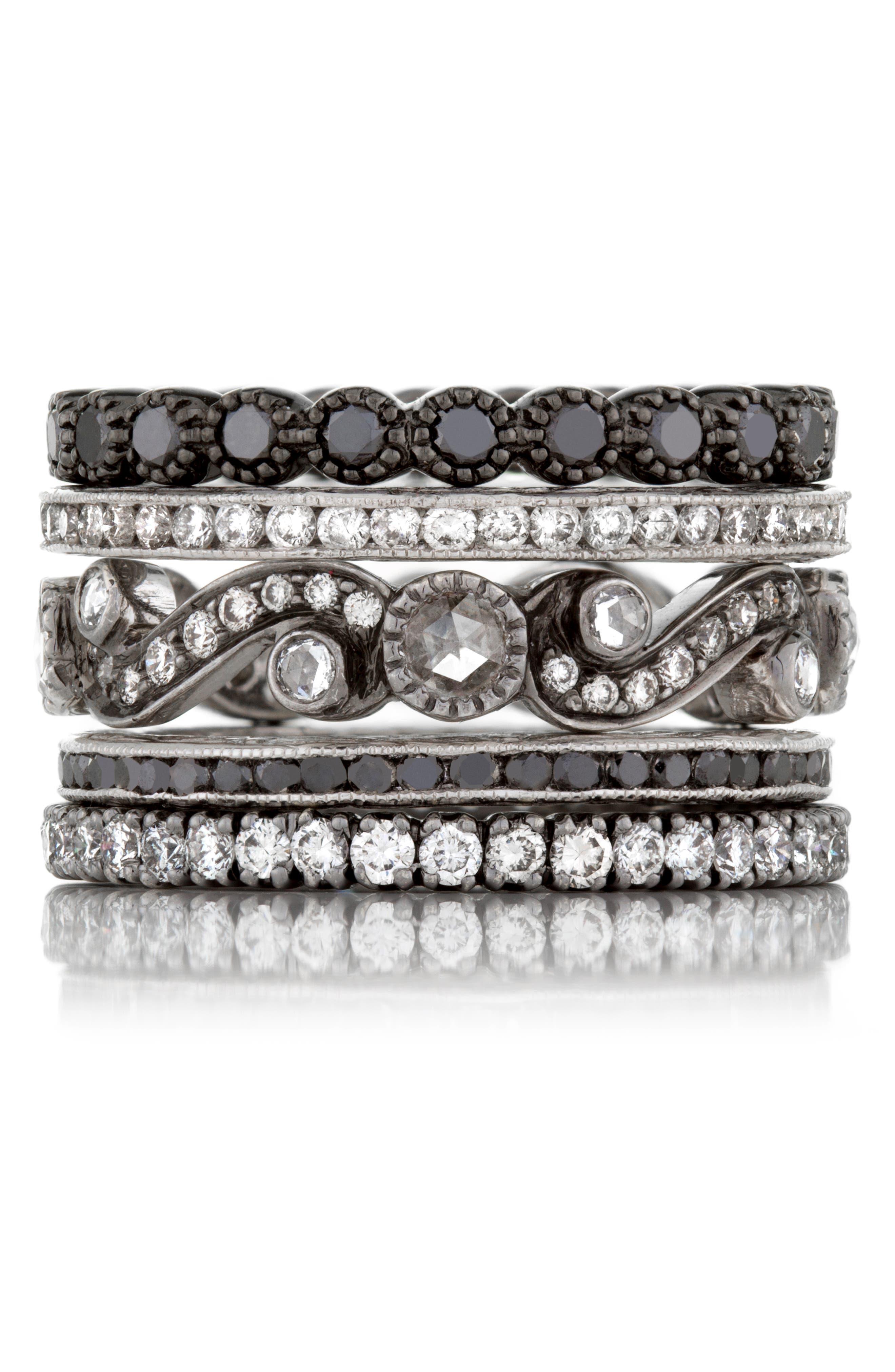 Channel Set Diamond Ring,                             Alternate thumbnail 6, color,                             White Gold/ Black Diamond