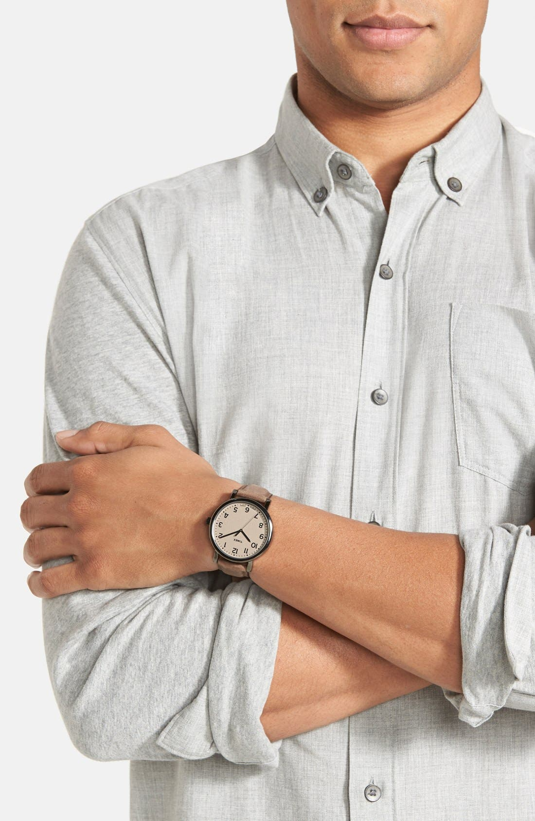 Alternate Image 2  - Timex® 'Easy Reader' Leather Strap Watch