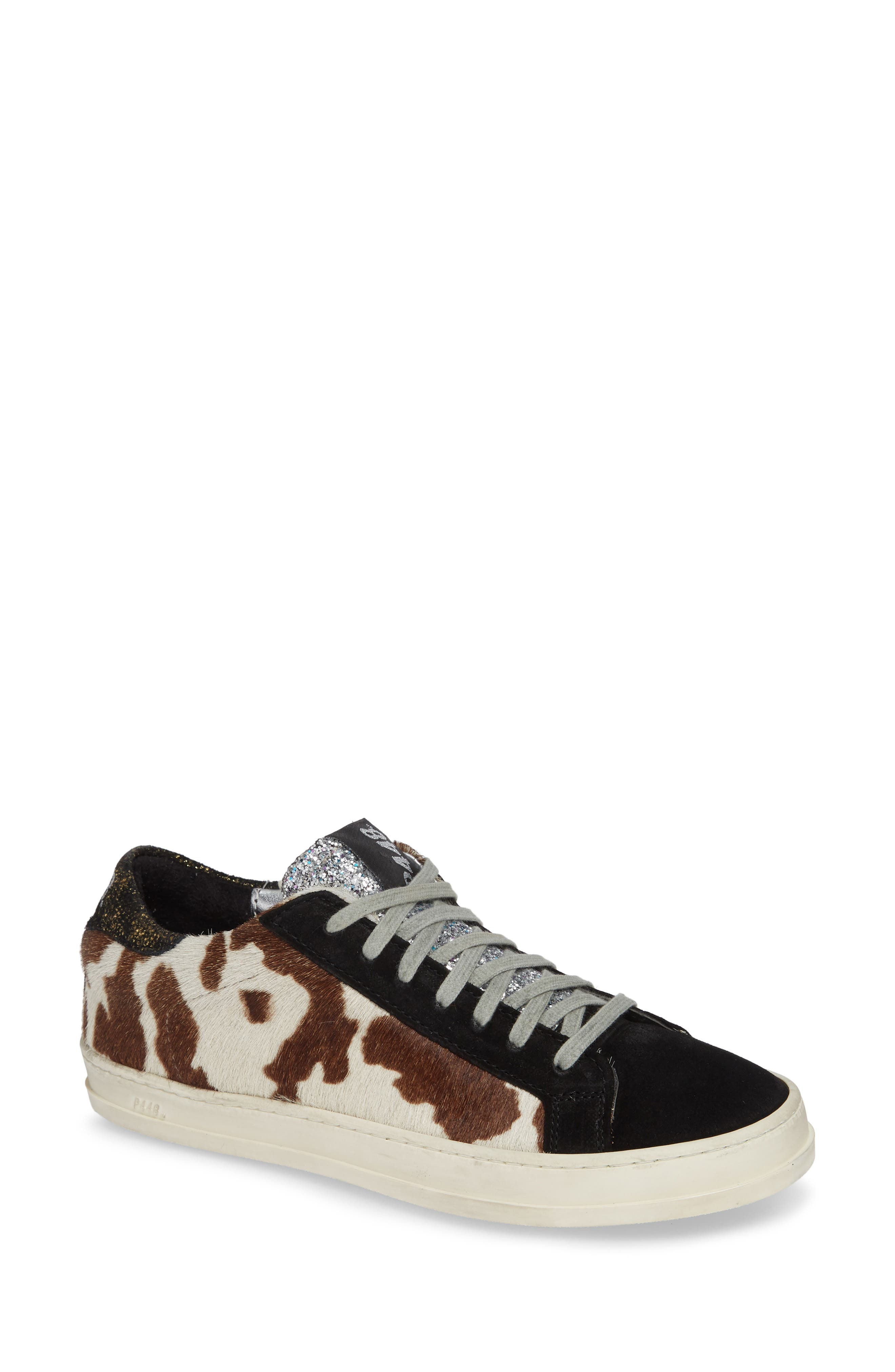 P448 Women'S John Fur & Leather Lace-Up Sneakers in Brown Calf Hair