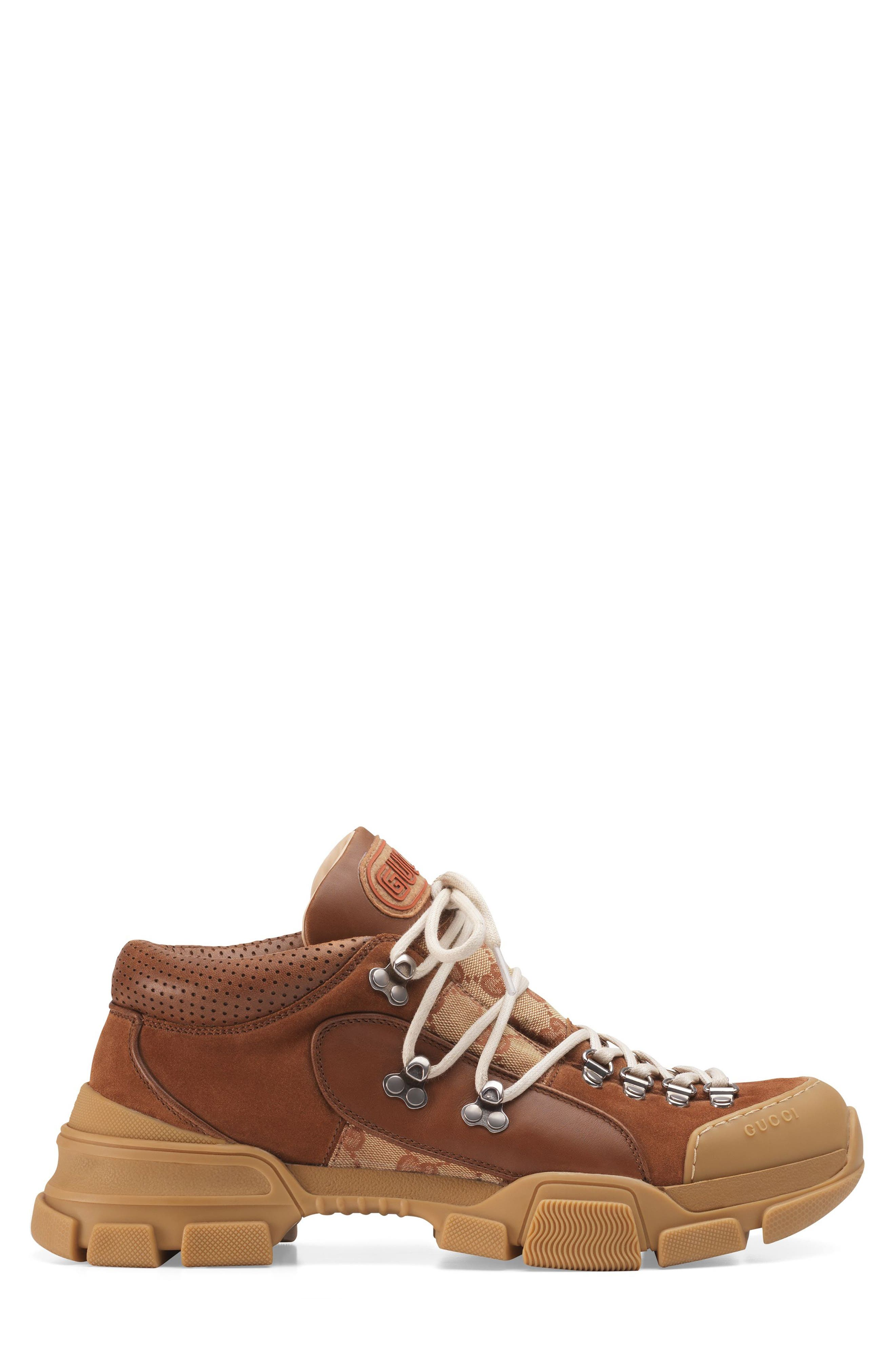 Gucci Leather And Original Gg Low-Top Trekking Boot In Brown
