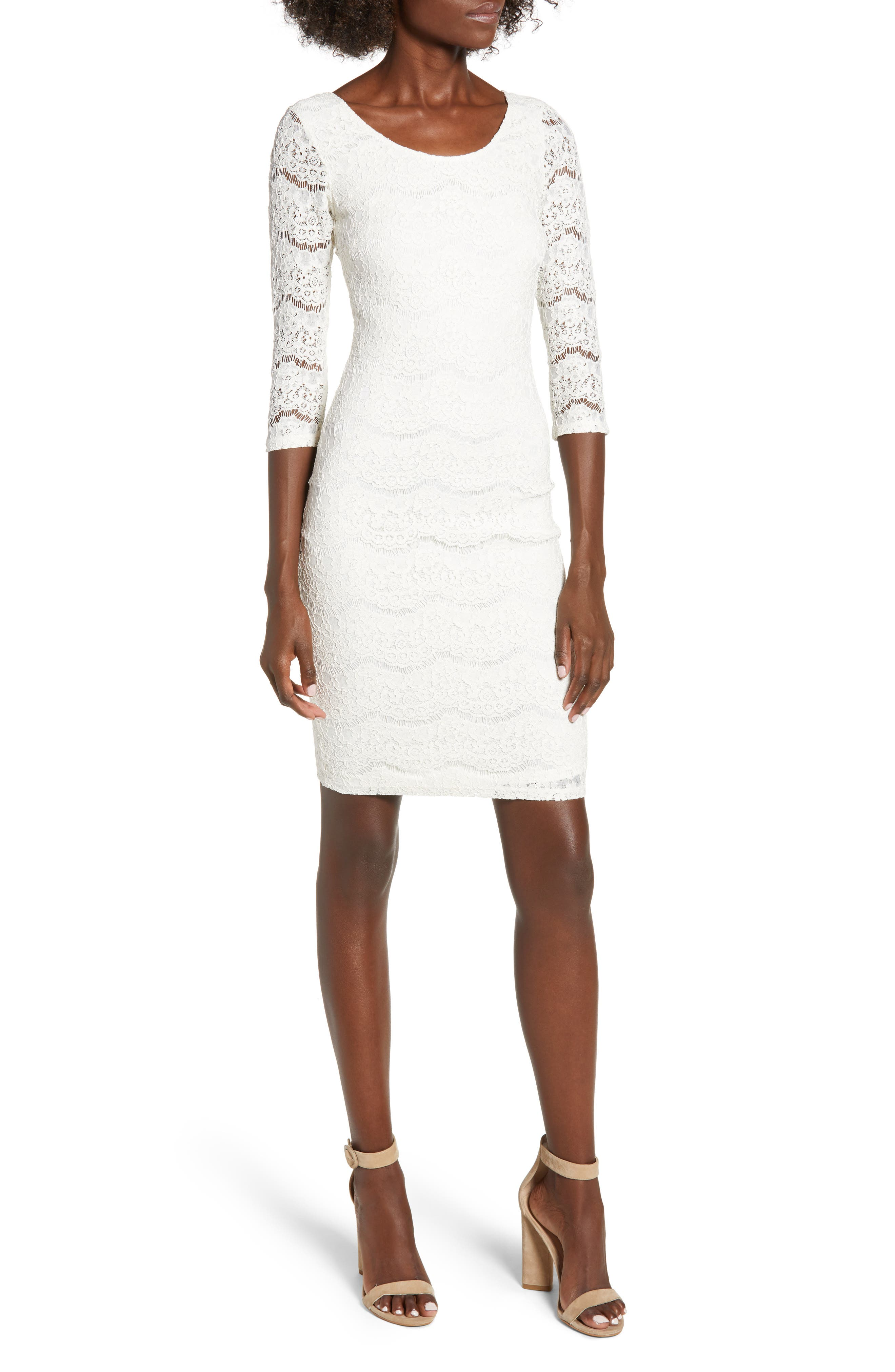 LOVE, FIRE Lace Body-Con Dress in Ivory