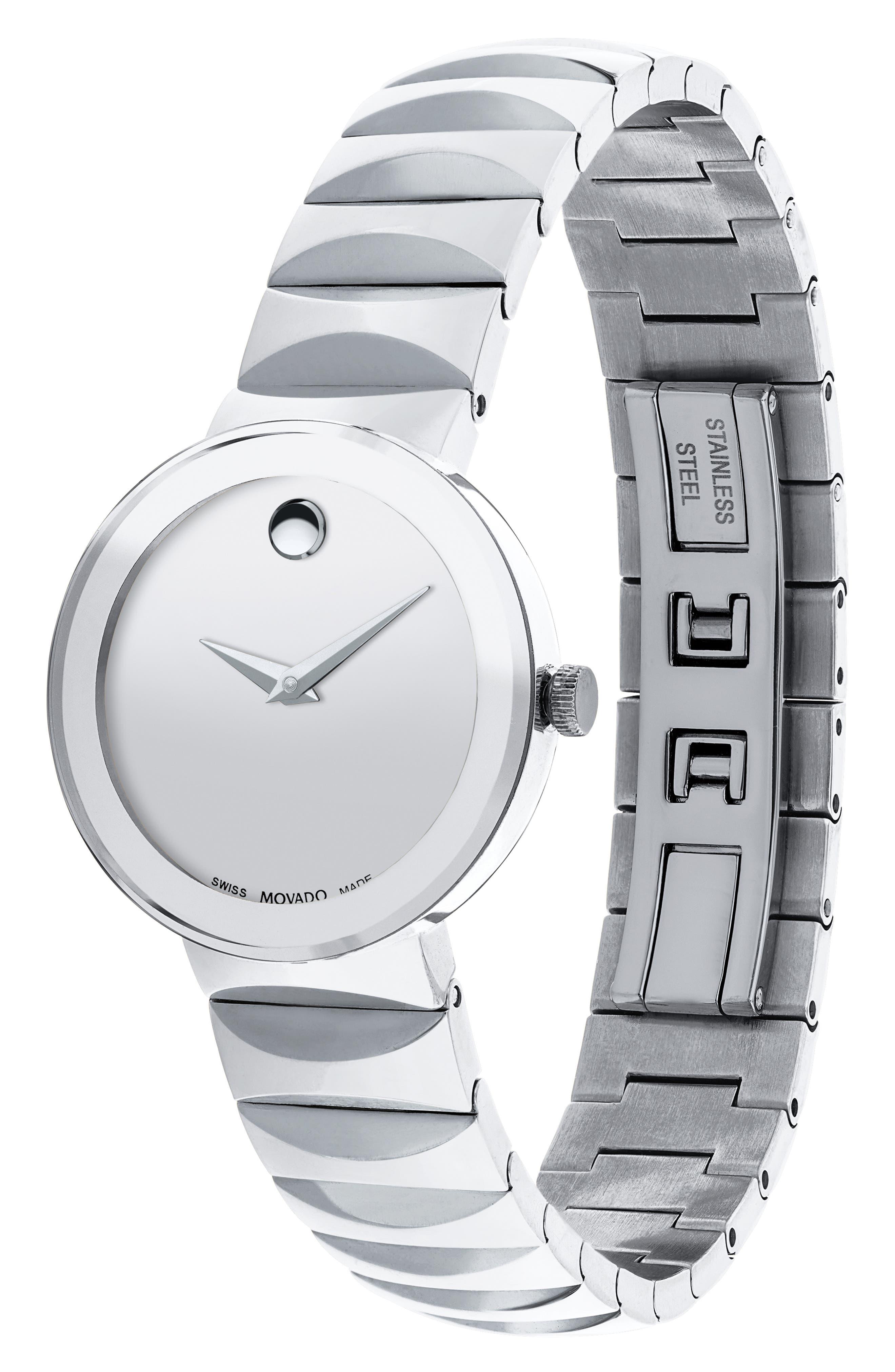 Sapphire Bracelet Watch, 26mm,                             Alternate thumbnail 2, color,                             Silver