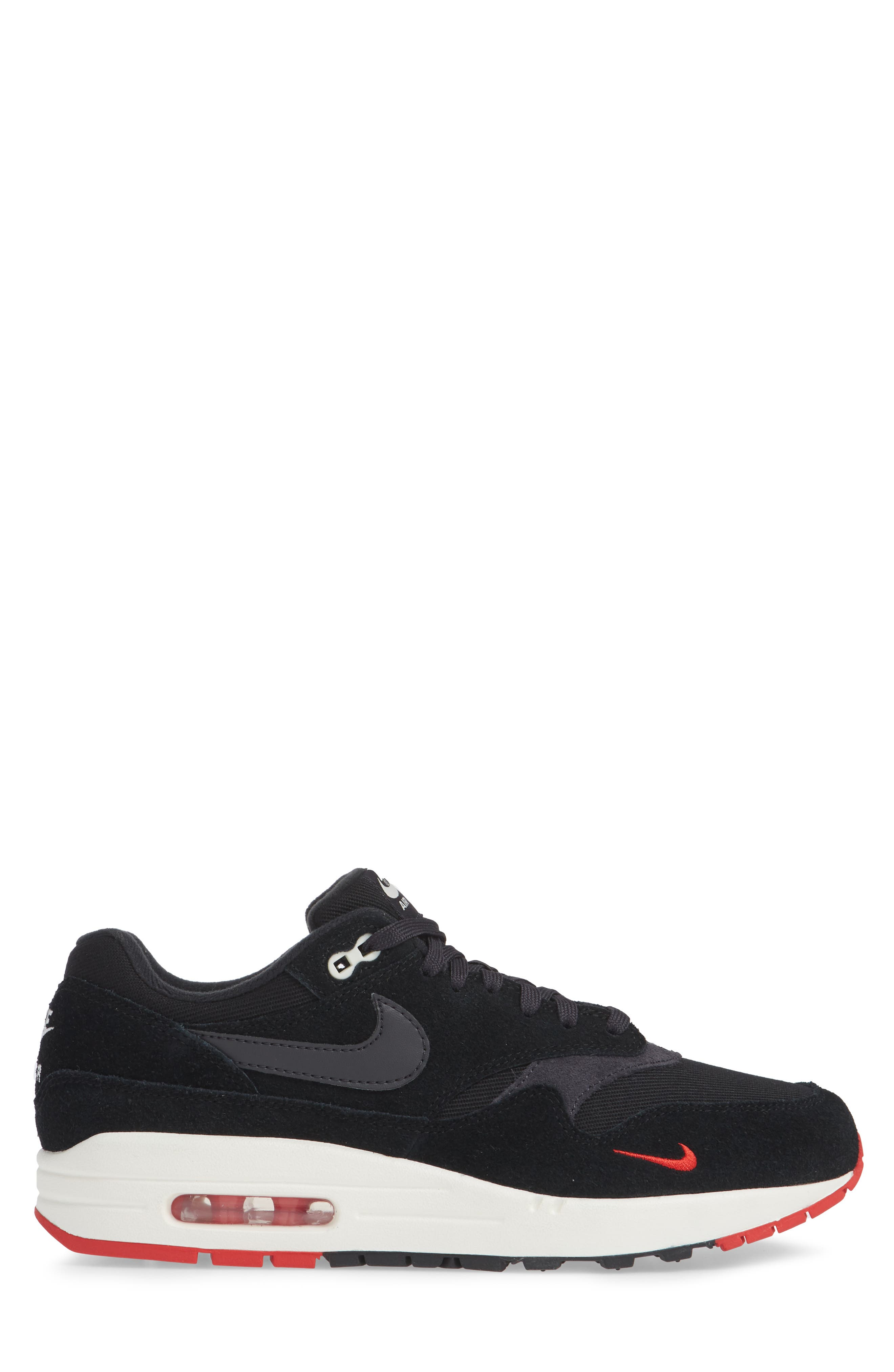 Air Max 1 Premium Sneaker,                             Alternate thumbnail 3, color,                             Black/ Grey/ University Red