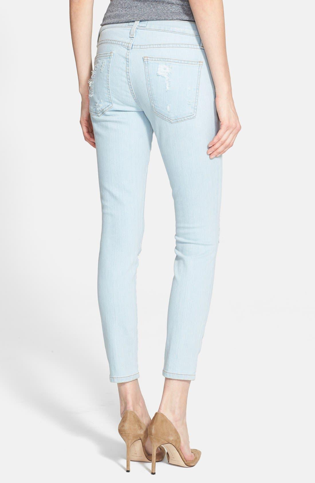Alternate Image 3  - Current/Elliott 'The Stiletto' Destroyed Skinny Jeans (Chalky Indigo Shredded)