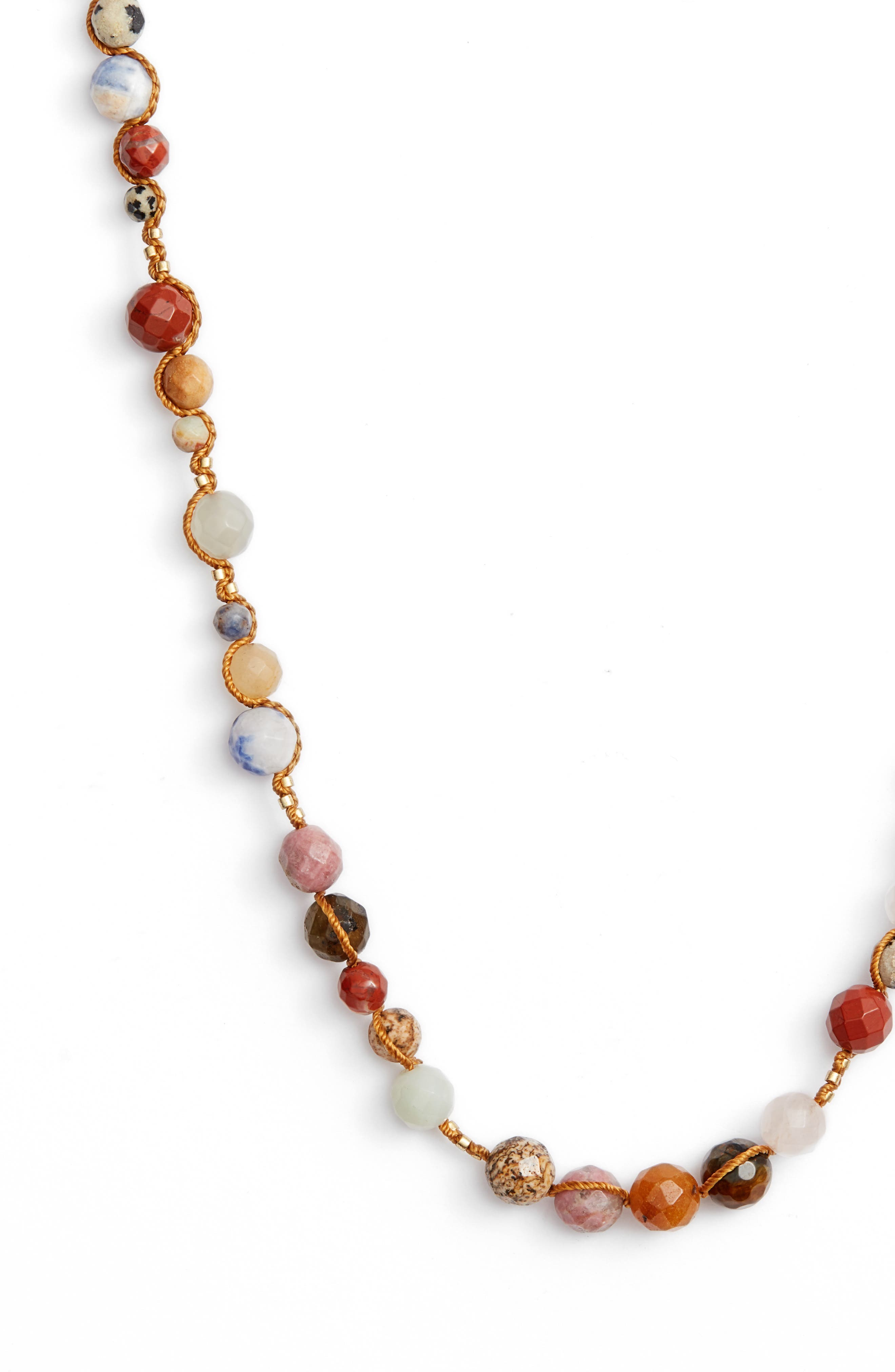 Mixed Semiprecious Stone Necklace,                             Alternate thumbnail 2, color,                             Brown Multi