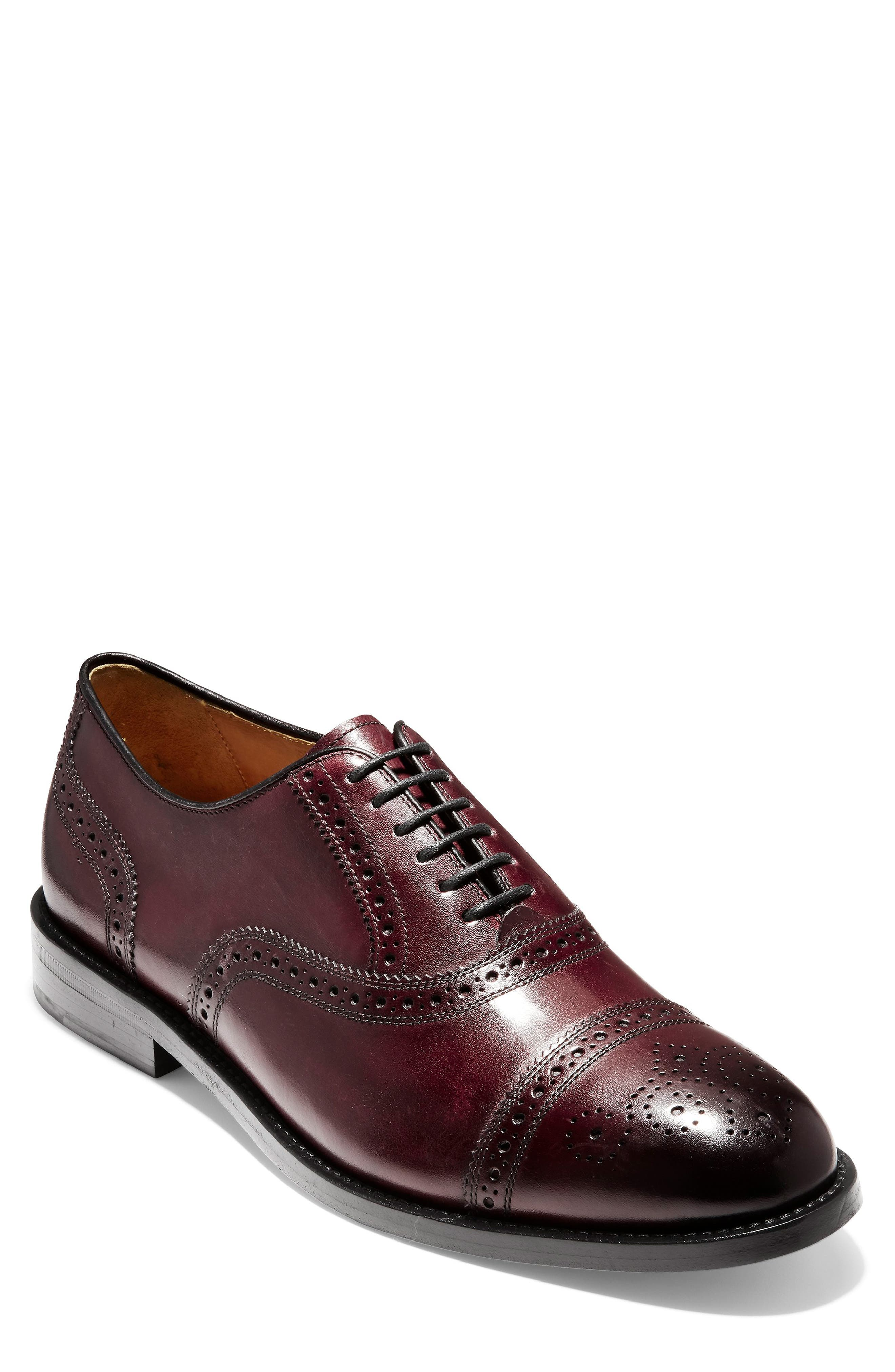 American Classics Kneeland Cap Toe Oxford,                             Main thumbnail 1, color,                             Oxblood Leather