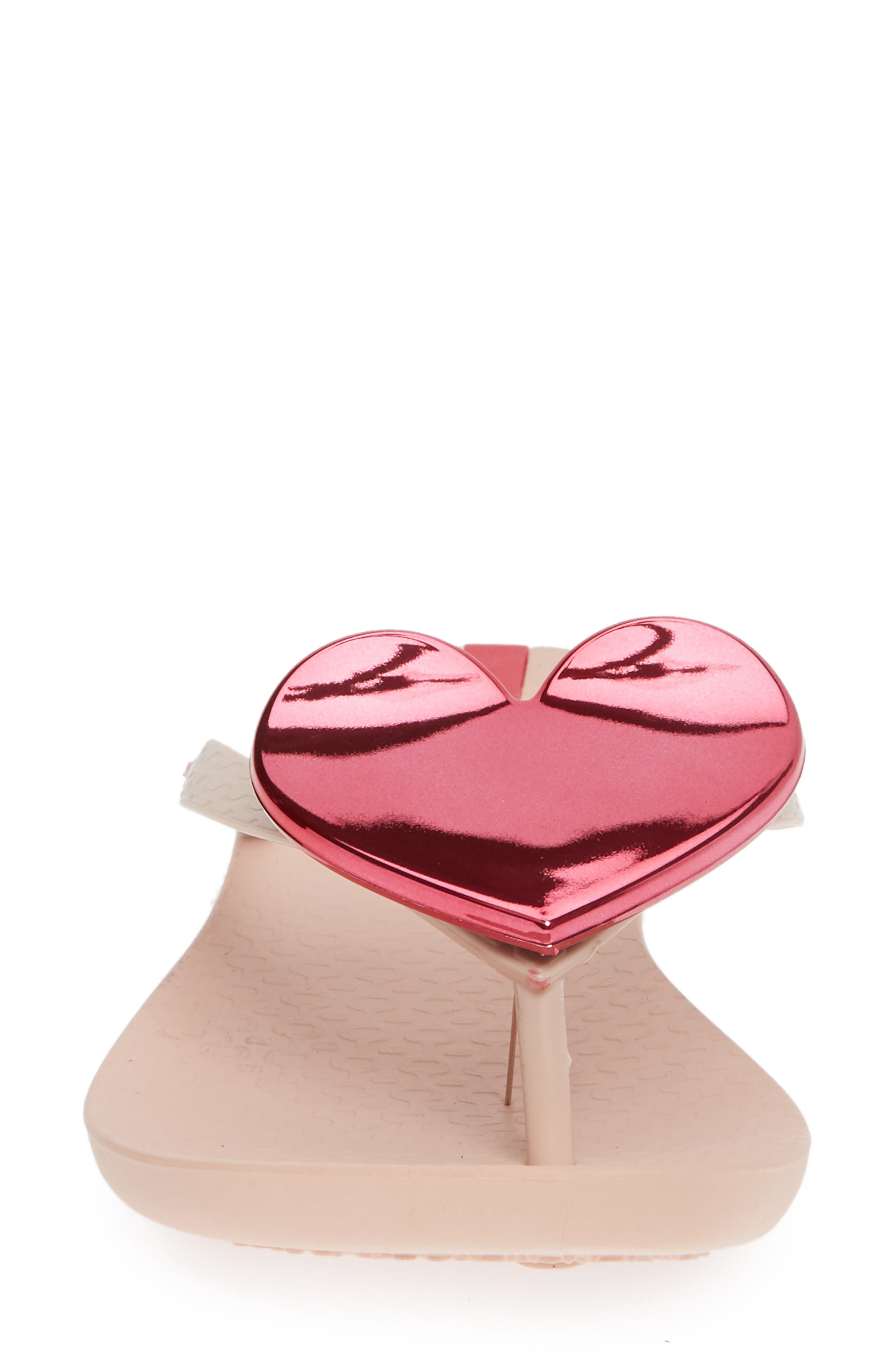 Wave Heart Flip Flop,                             Alternate thumbnail 5, color,                             Pink/ Pink