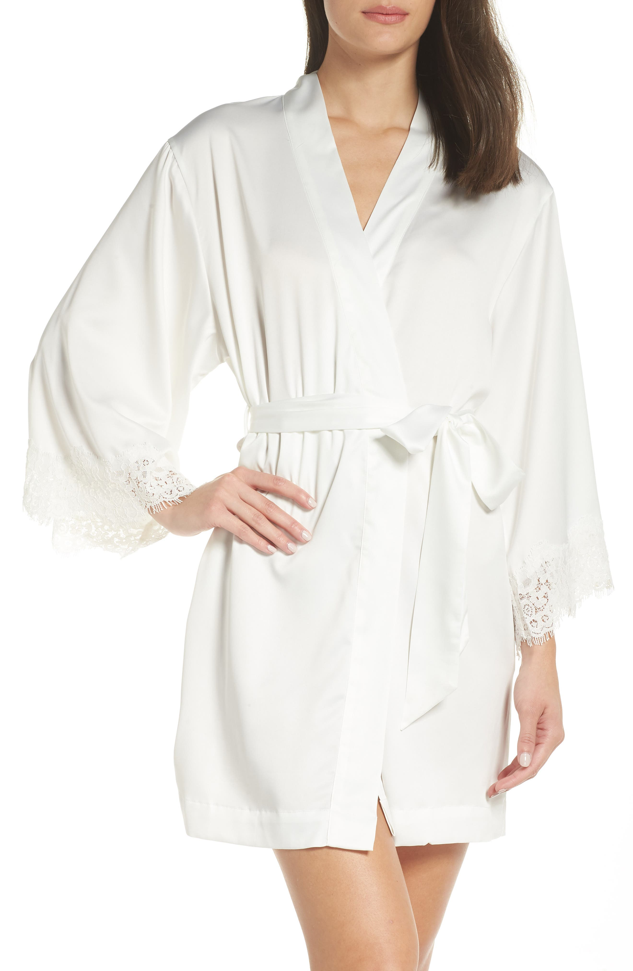 HOMEBODII Juliette Short Satin Robe in White