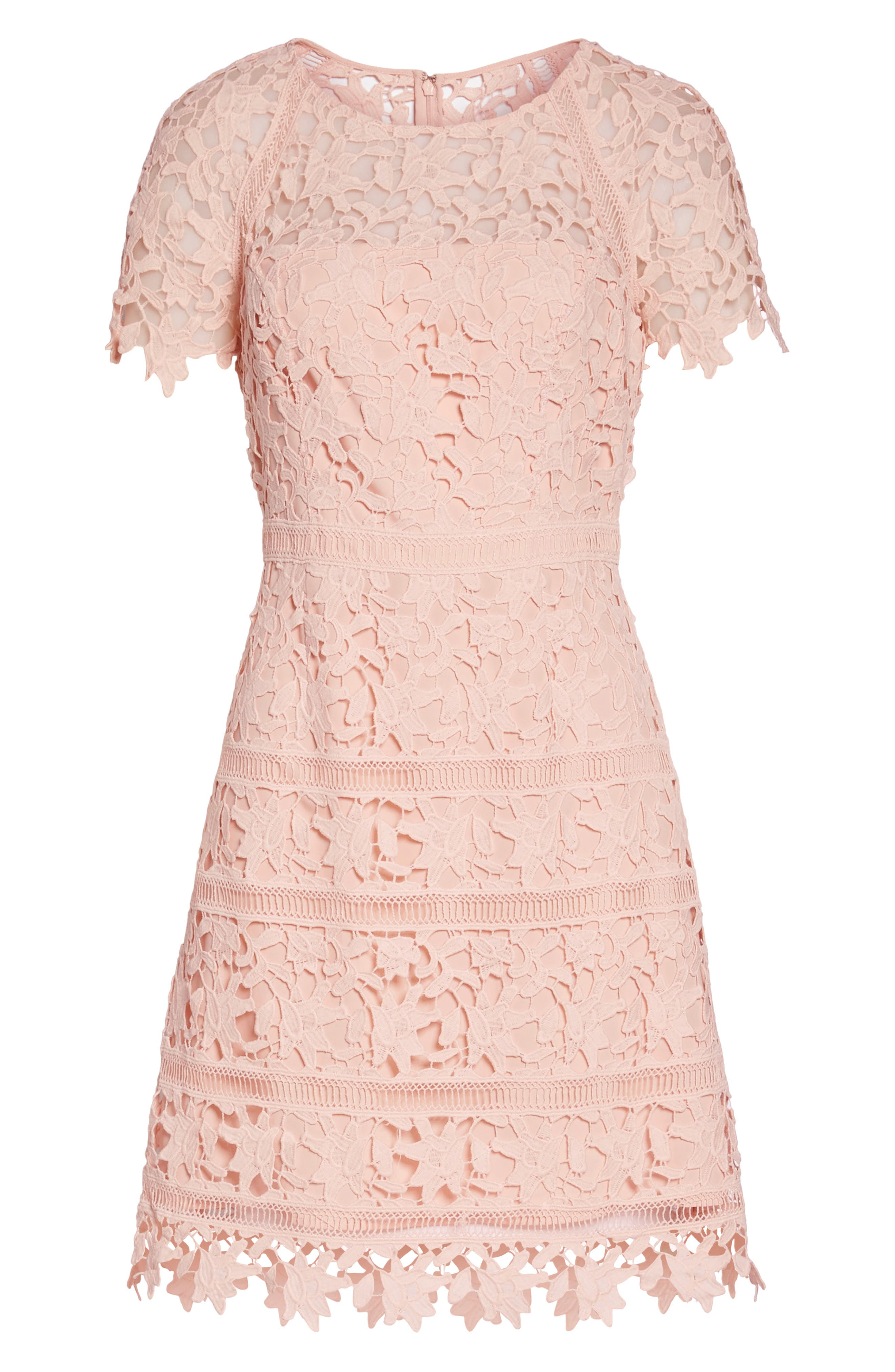 Crochet Overlay Dress,                             Alternate thumbnail 7, color,                             Blush