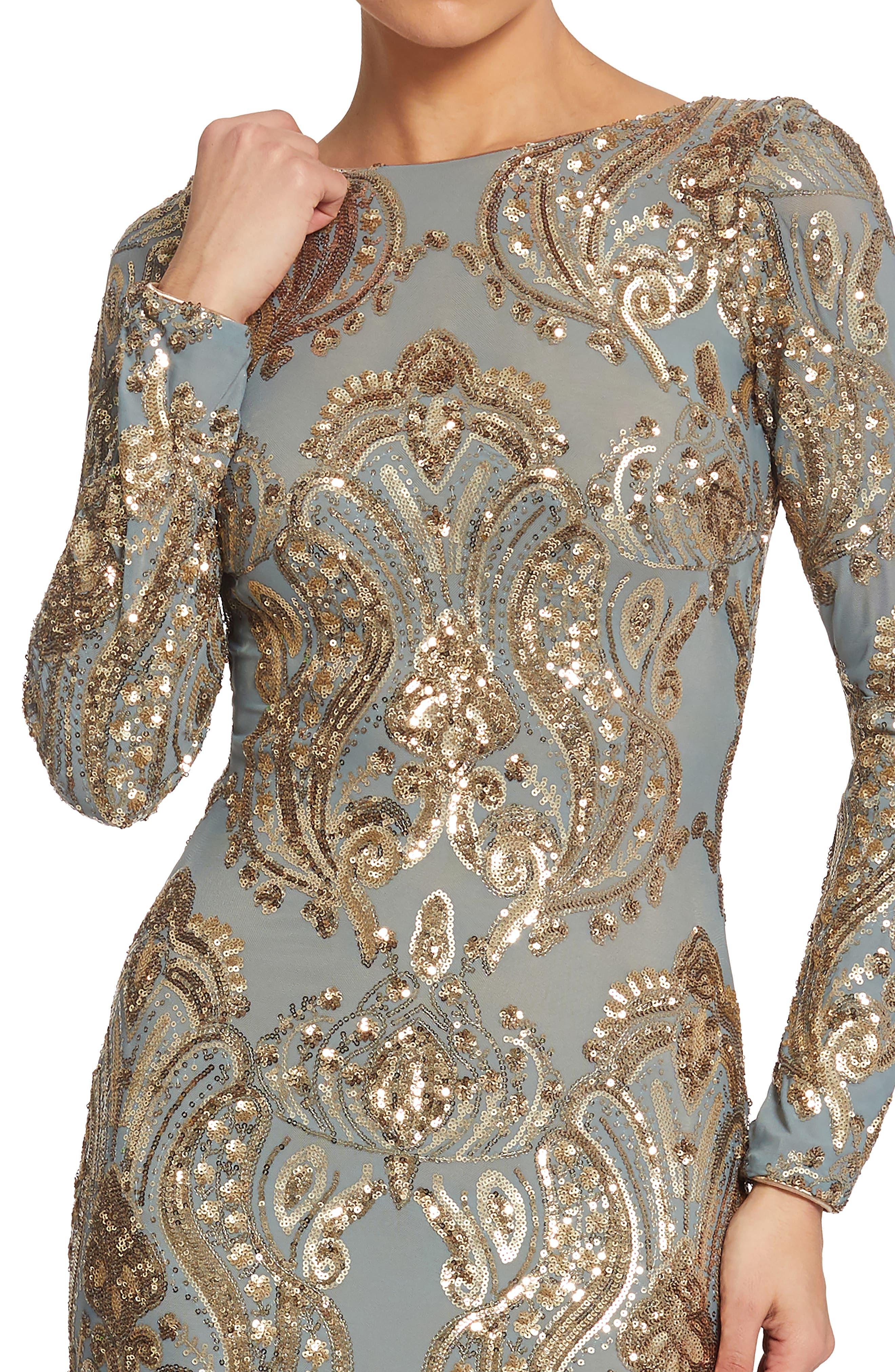 Emery Sequin Sheath Dress,                             Alternate thumbnail 4, color,                             Teal/ Gold