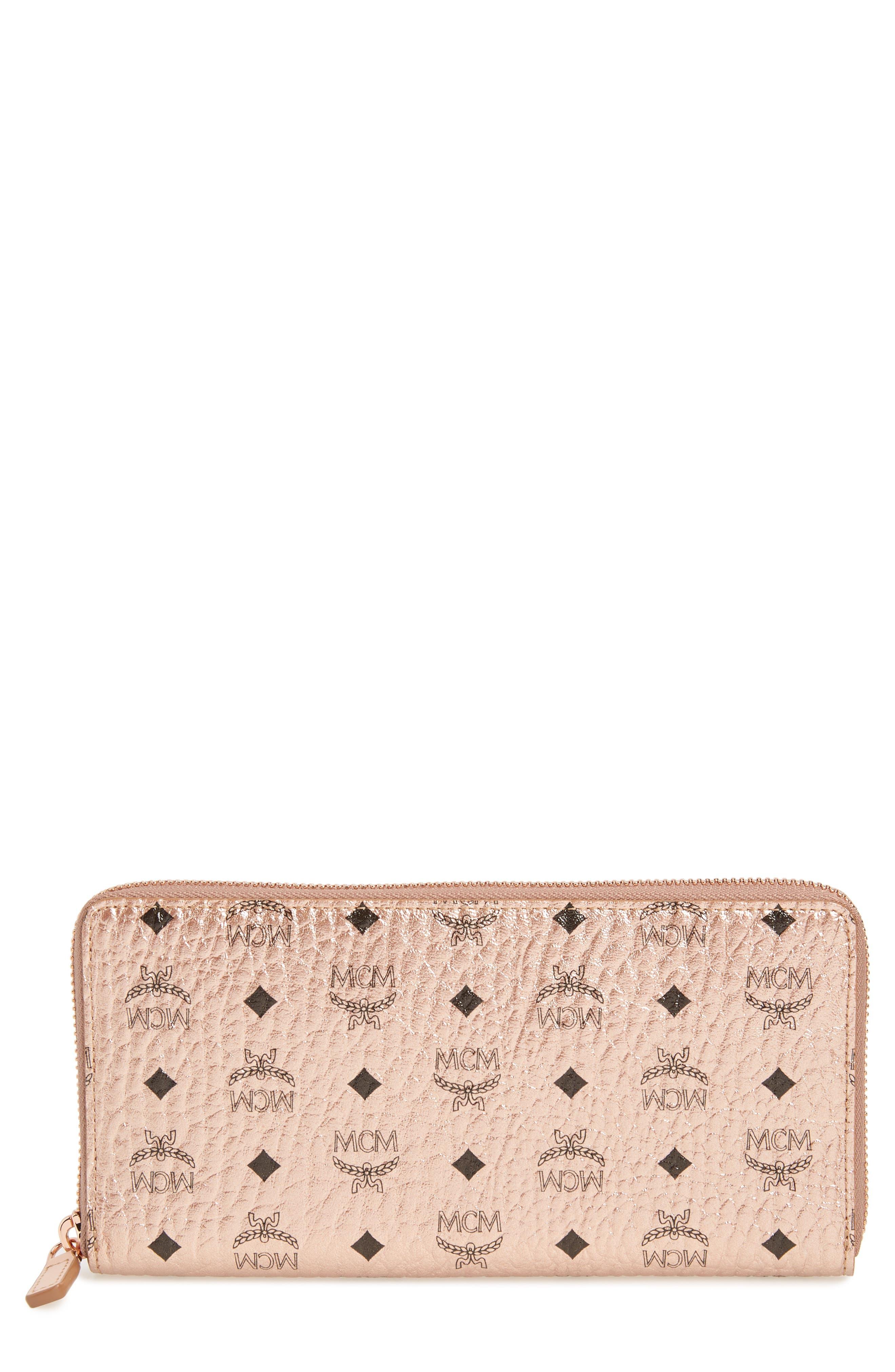 Visetos Original Zip Around Coated Canvas Wallet,                         Main,                         color, Champagne Gold