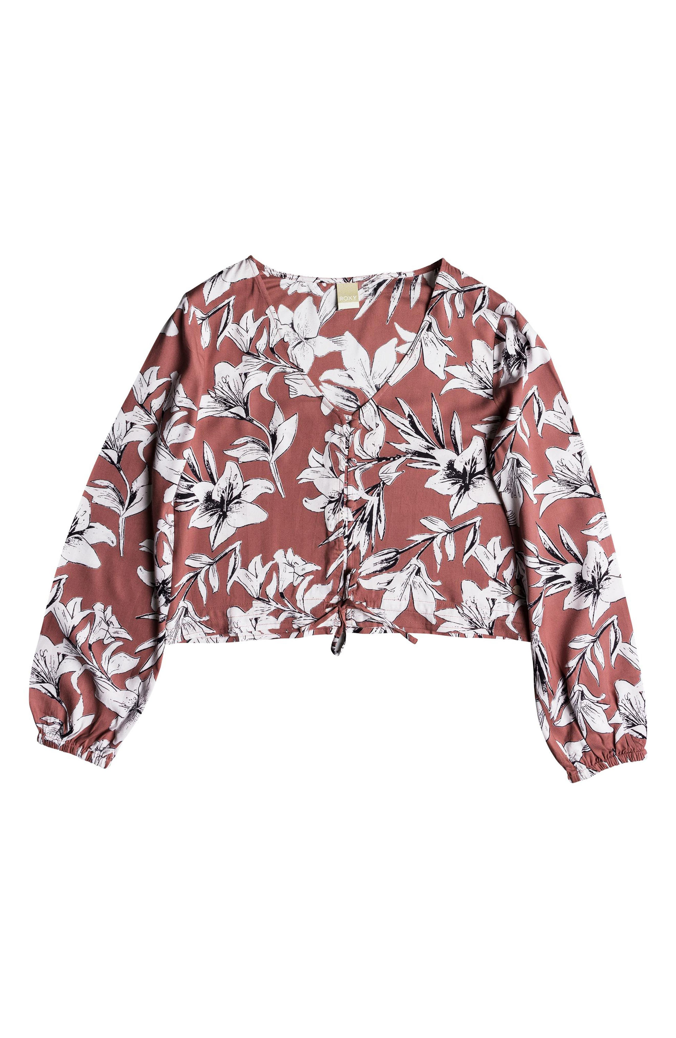 Morning Ritual Crop Blouse,                             Alternate thumbnail 4, color,                             Withered Rose Lily House
