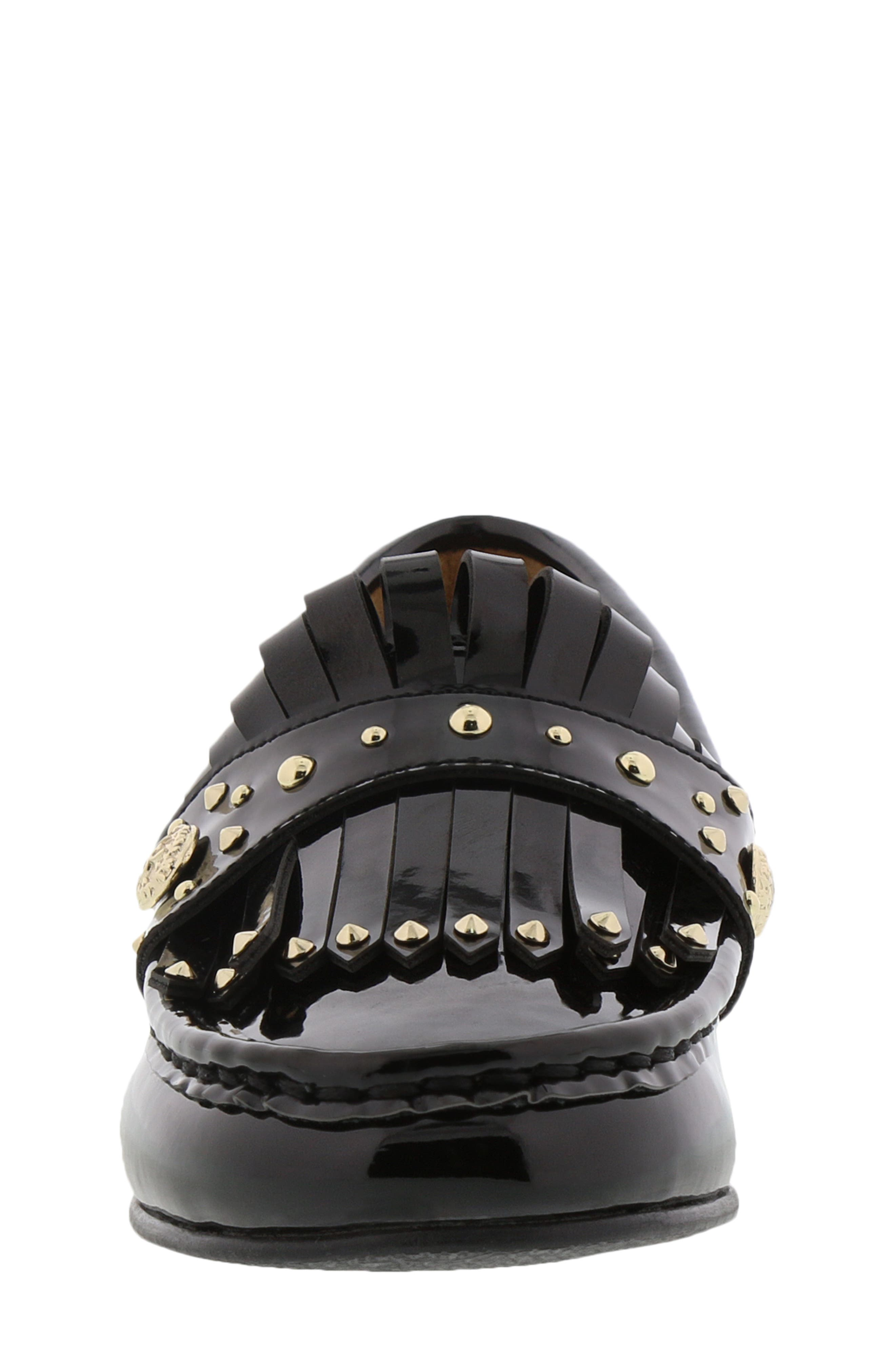 Gabriella Serona Studded Kiltie Loafer,                             Alternate thumbnail 4, color,                             Black