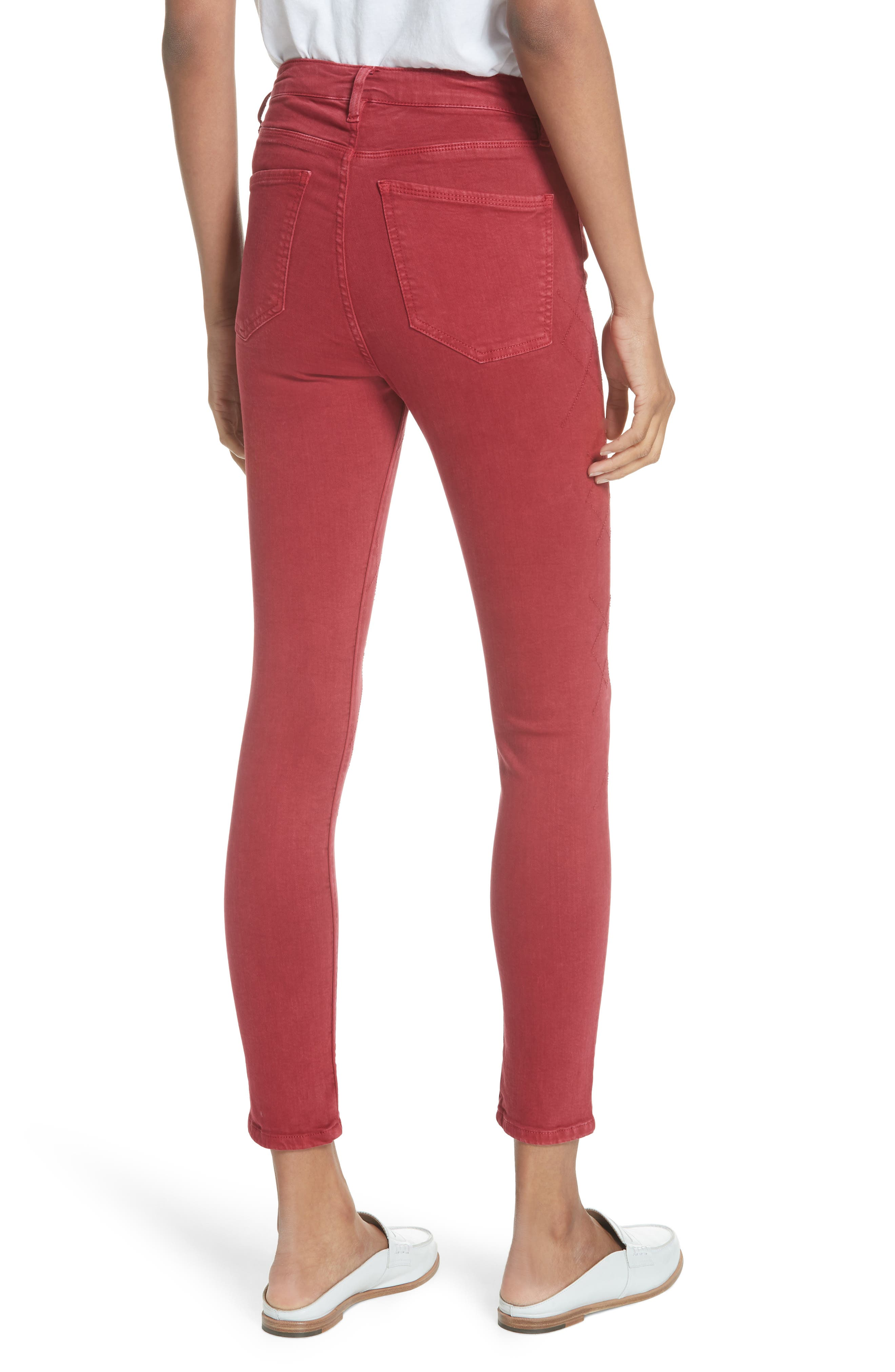 Rolling Old Reina Lattice Stitch Skinny Jeans,                             Alternate thumbnail 2, color,                             Framboise