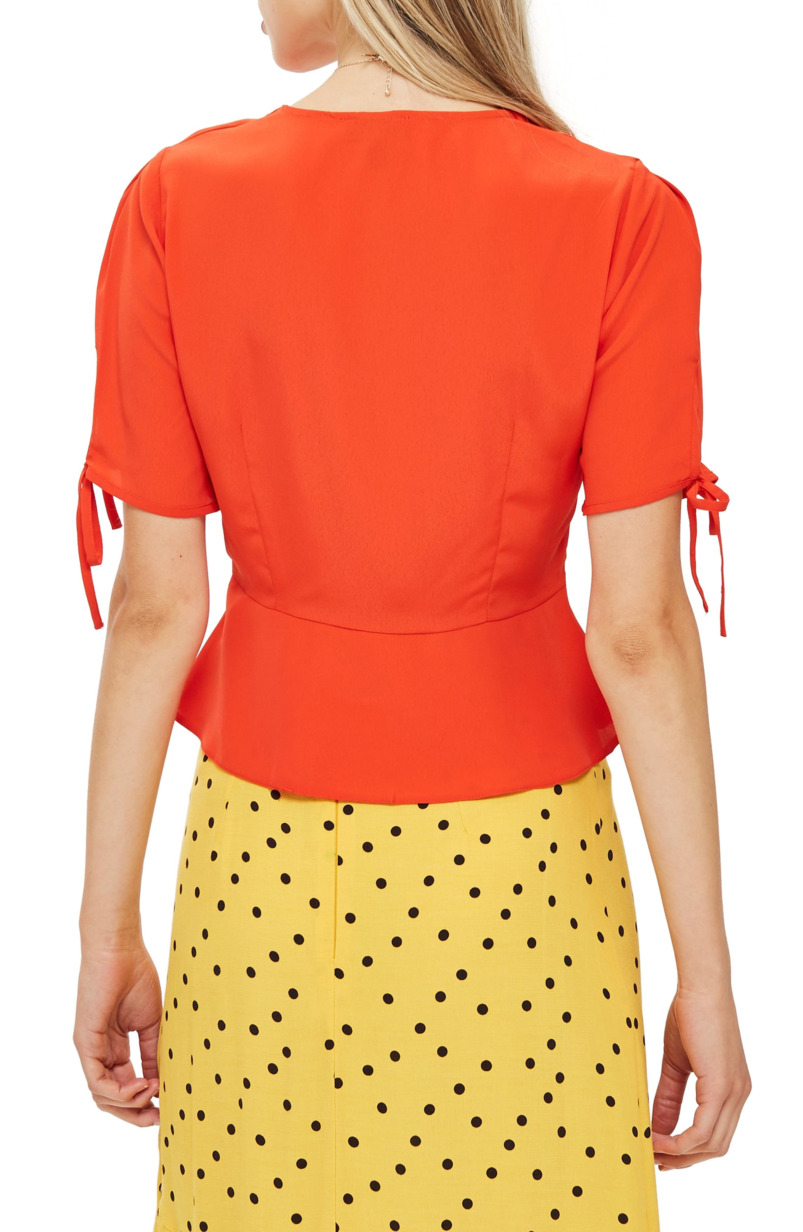 Bryony Tea Button Front Blouse,                             Alternate thumbnail 2, color,                             Red