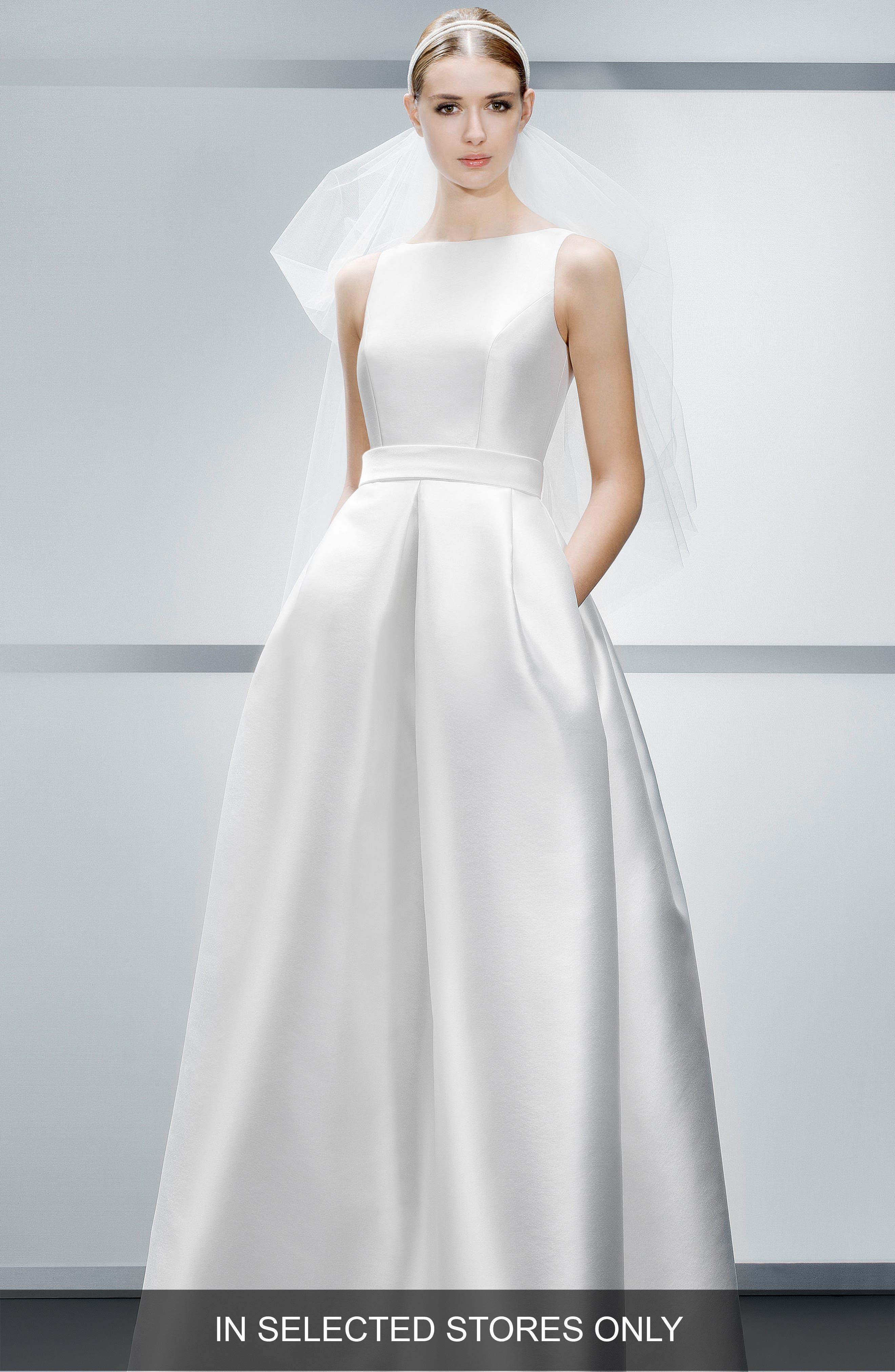 Mikado A-Line Dress,                             Main thumbnail 1, color,                             Ivory