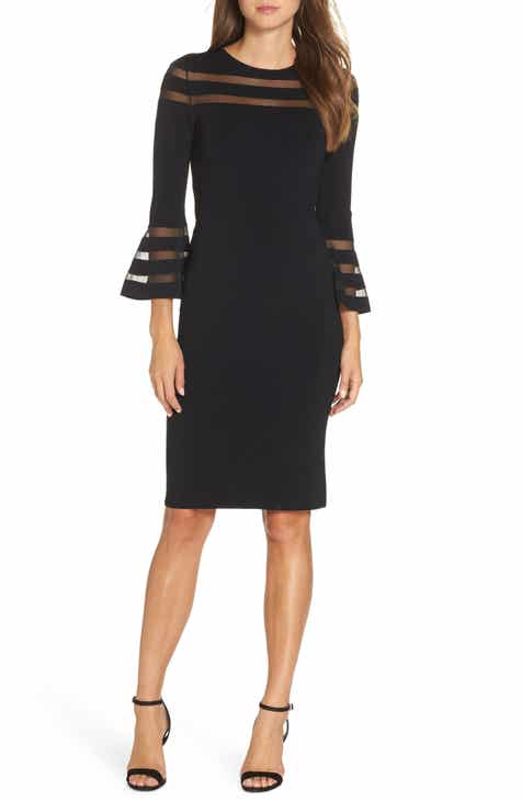 Eliza J Mesh Stripe Sweater Dress (Regular & Petite)