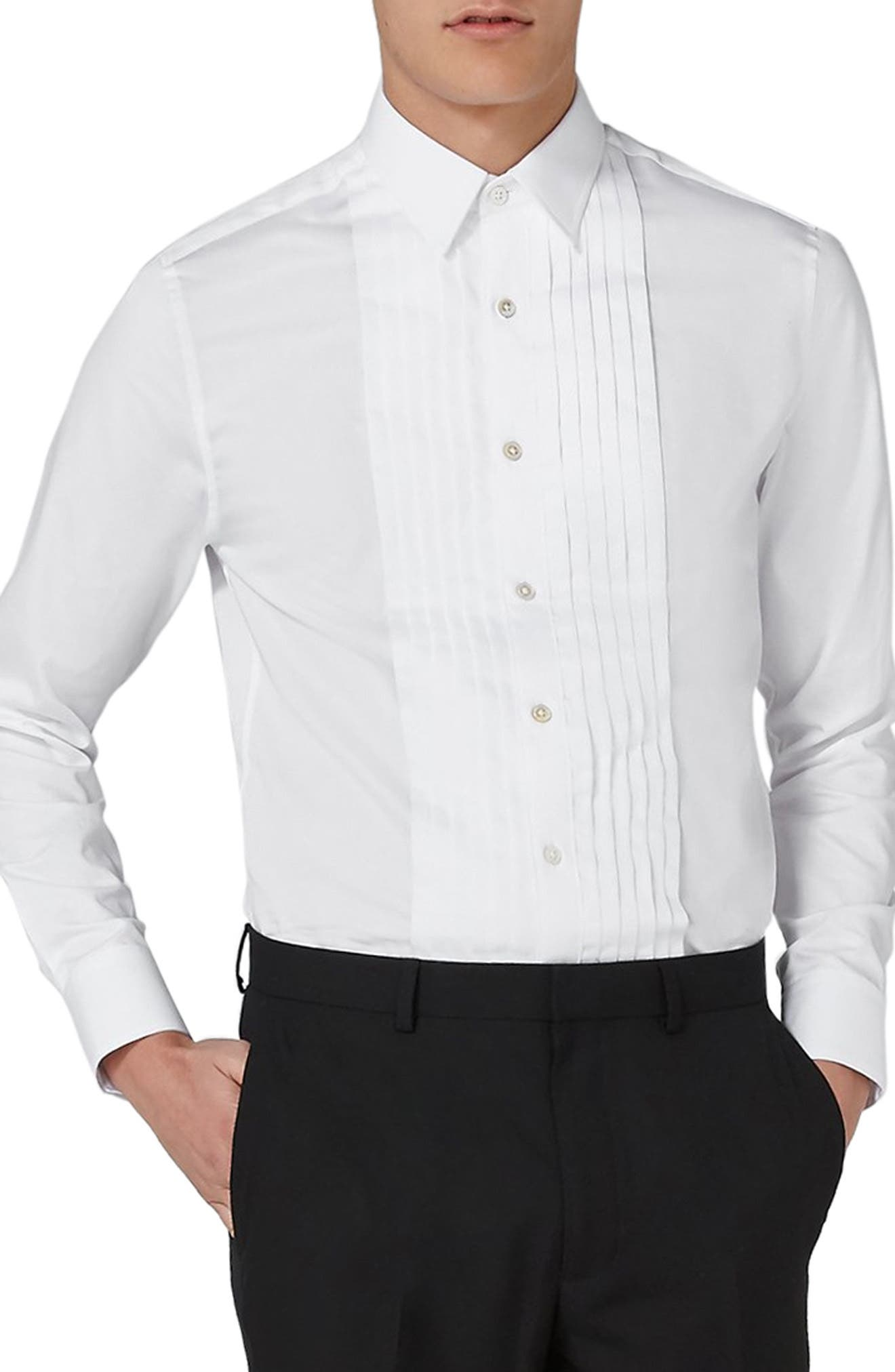 Pleated Tuxedo Shirt,                         Main,                         color, White