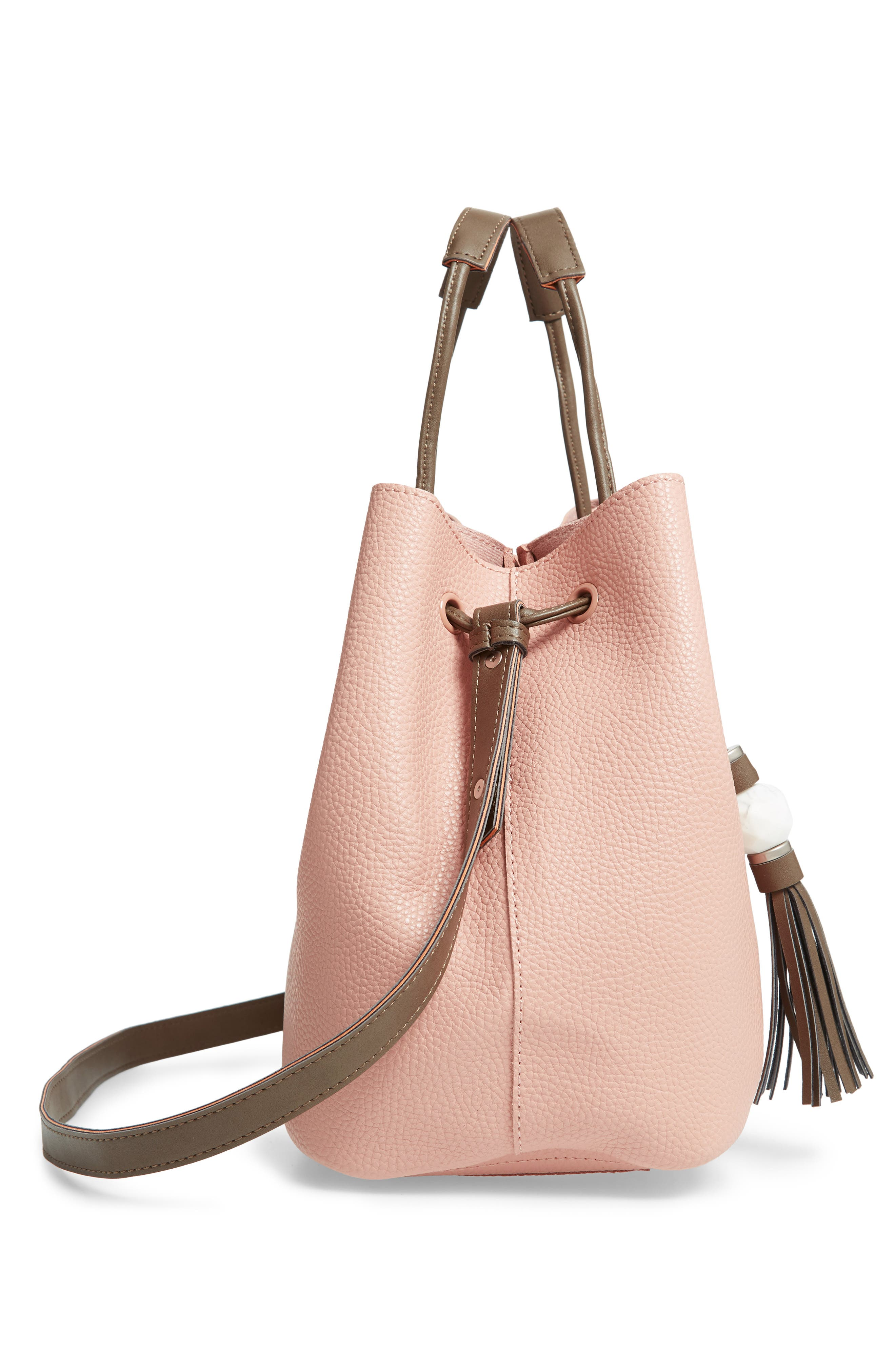 Jasmine Faux Leather Hobo,                             Alternate thumbnail 4, color,                             Dusty Pink