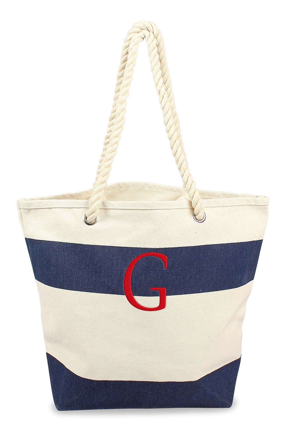 Monogram Stripe Canvas Tote,                             Main thumbnail 1, color,                             Navy - G
