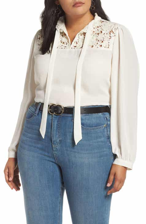 e1e790244a41a Halogen® Lace Yoke Tie Neck Blouse (Plus Size)