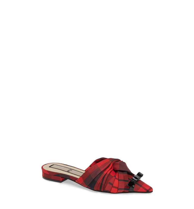 Knotted Mule,                         Main,                         color, Red/ Black Check