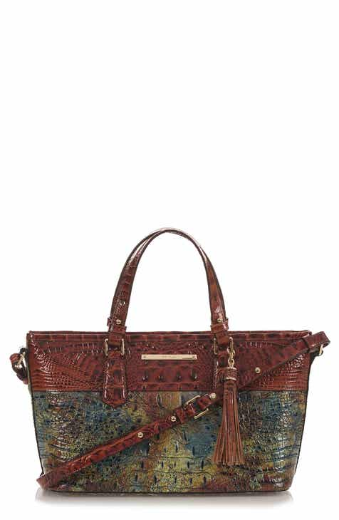 Brahmin Mini Asher Croc Embossed Leather Satchel