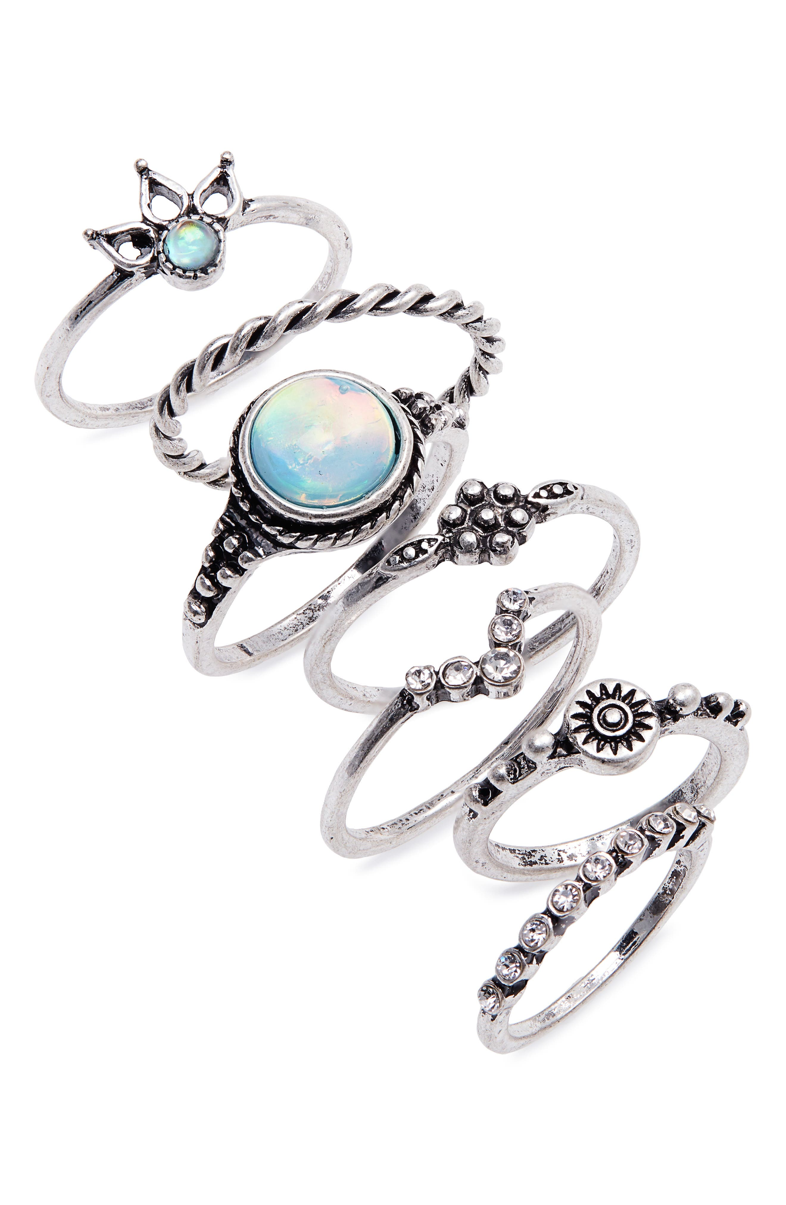 Beach House 7-Pack Ring Set,                             Main thumbnail 1, color,                             Silver